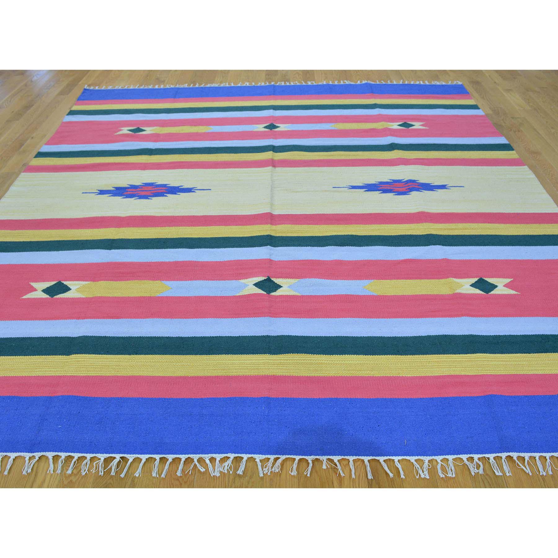 7-10 x8-3  Hand Woven Killim Flat Weave Squarish Southwestern Design Rug