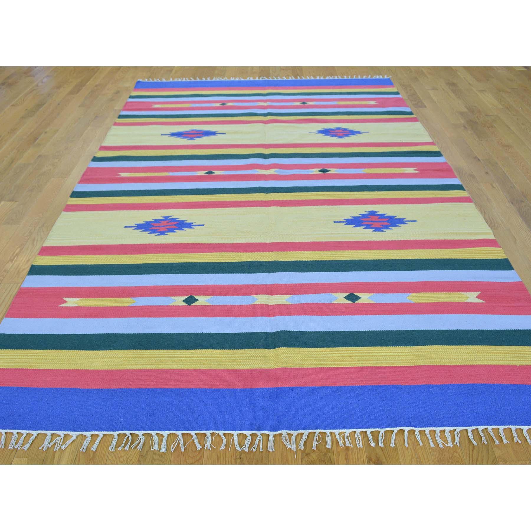 6-x9- Hand Woven Flat Weave Killim Navajo Design Rug