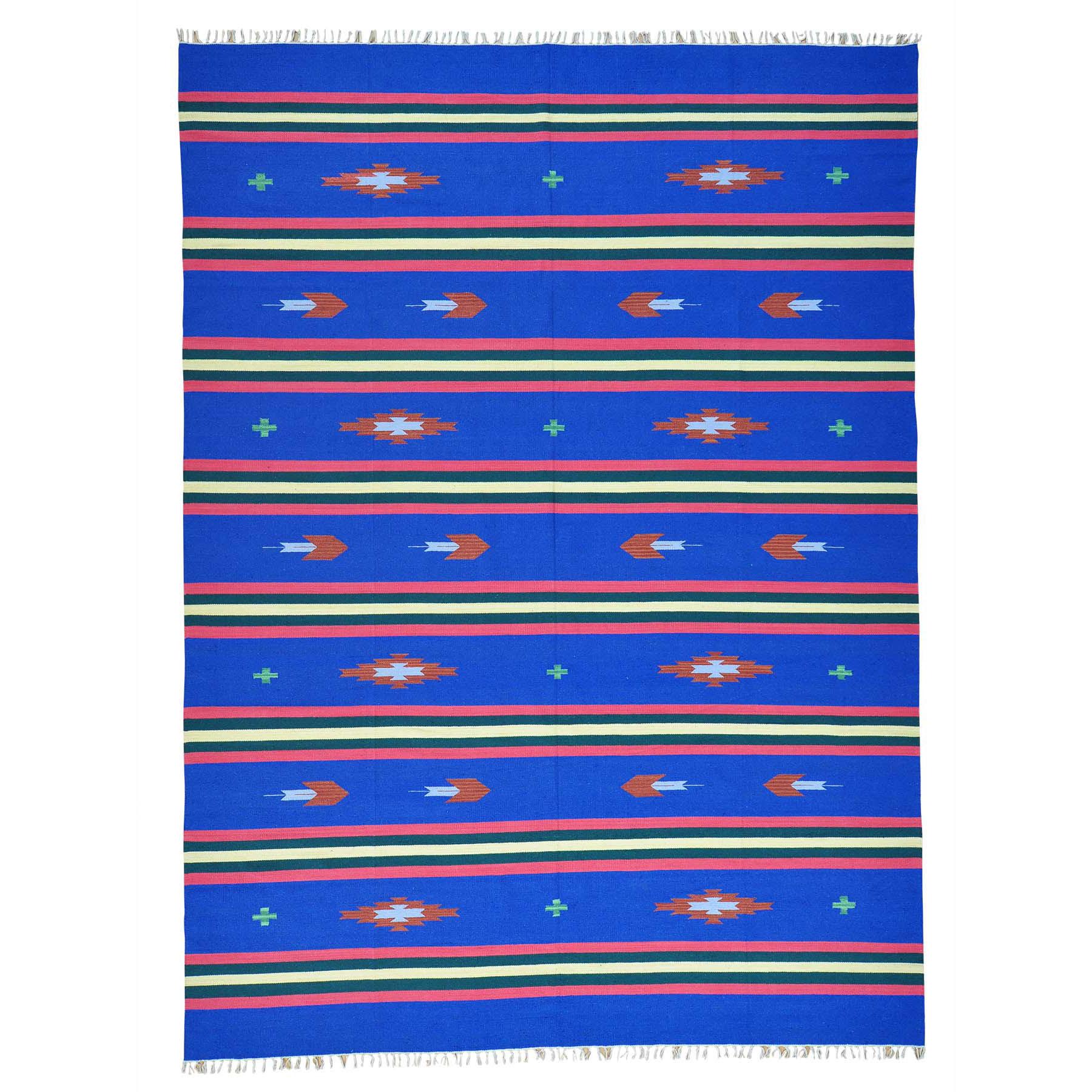 "8'10""X12'1"" Navajo Design Flat Weave Hand Woven Killim Rug moab6077"
