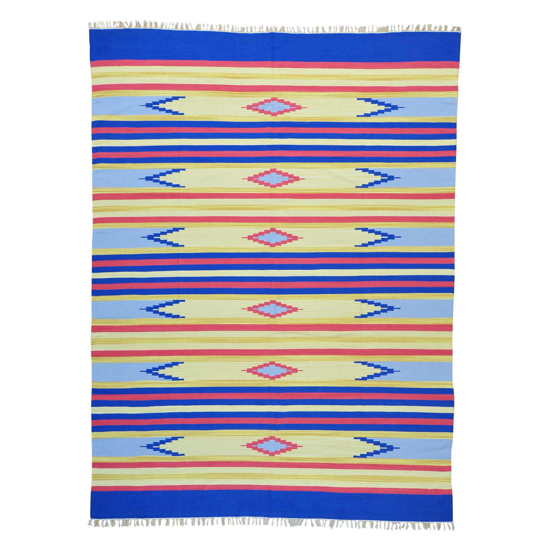 "8'10""x12' Southwestern Design Flat Weave Hand Woven Killim Rug"