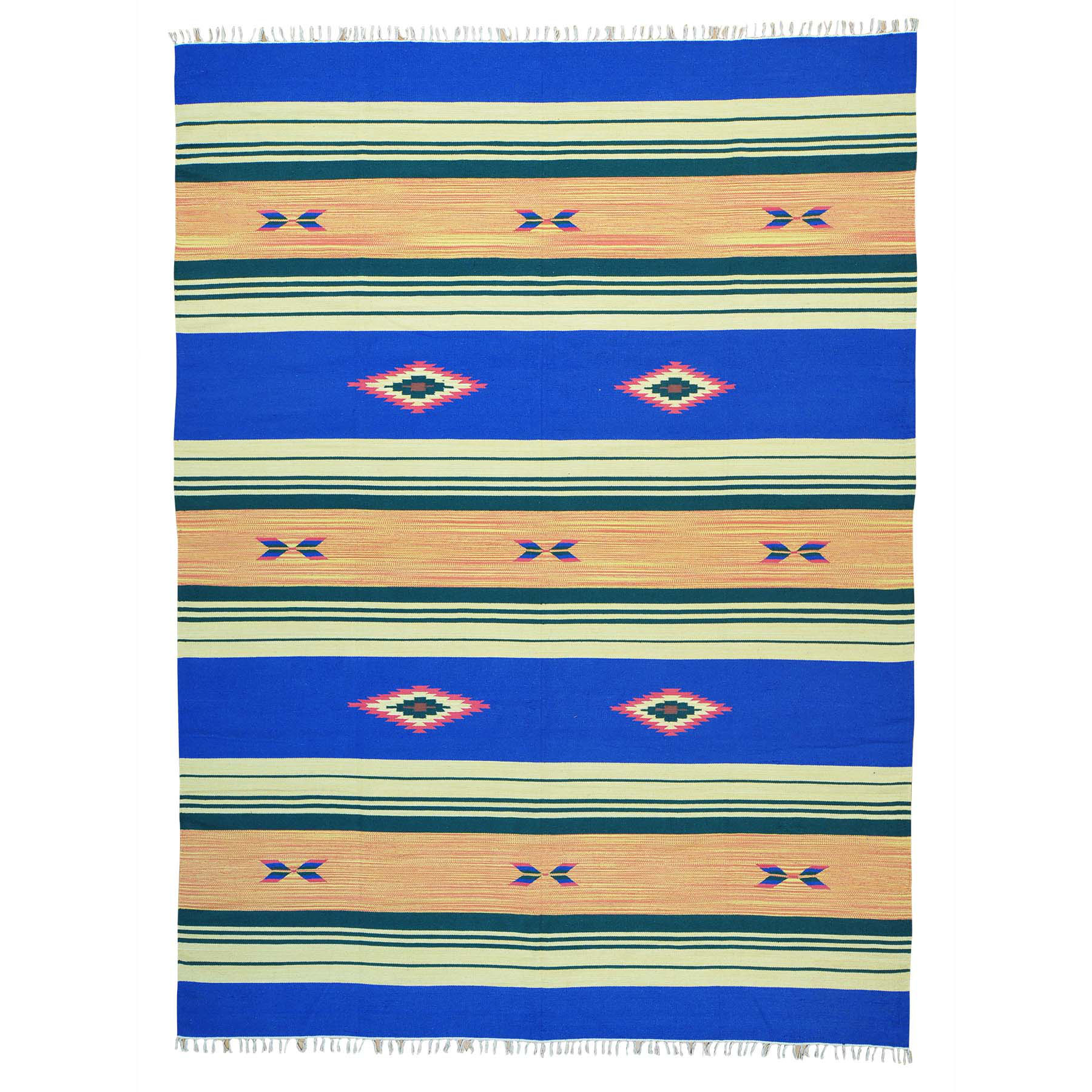 "8'10""X12'1"" Flat Weave Hand Woven Killim Southwestern Design Rug moab608a"