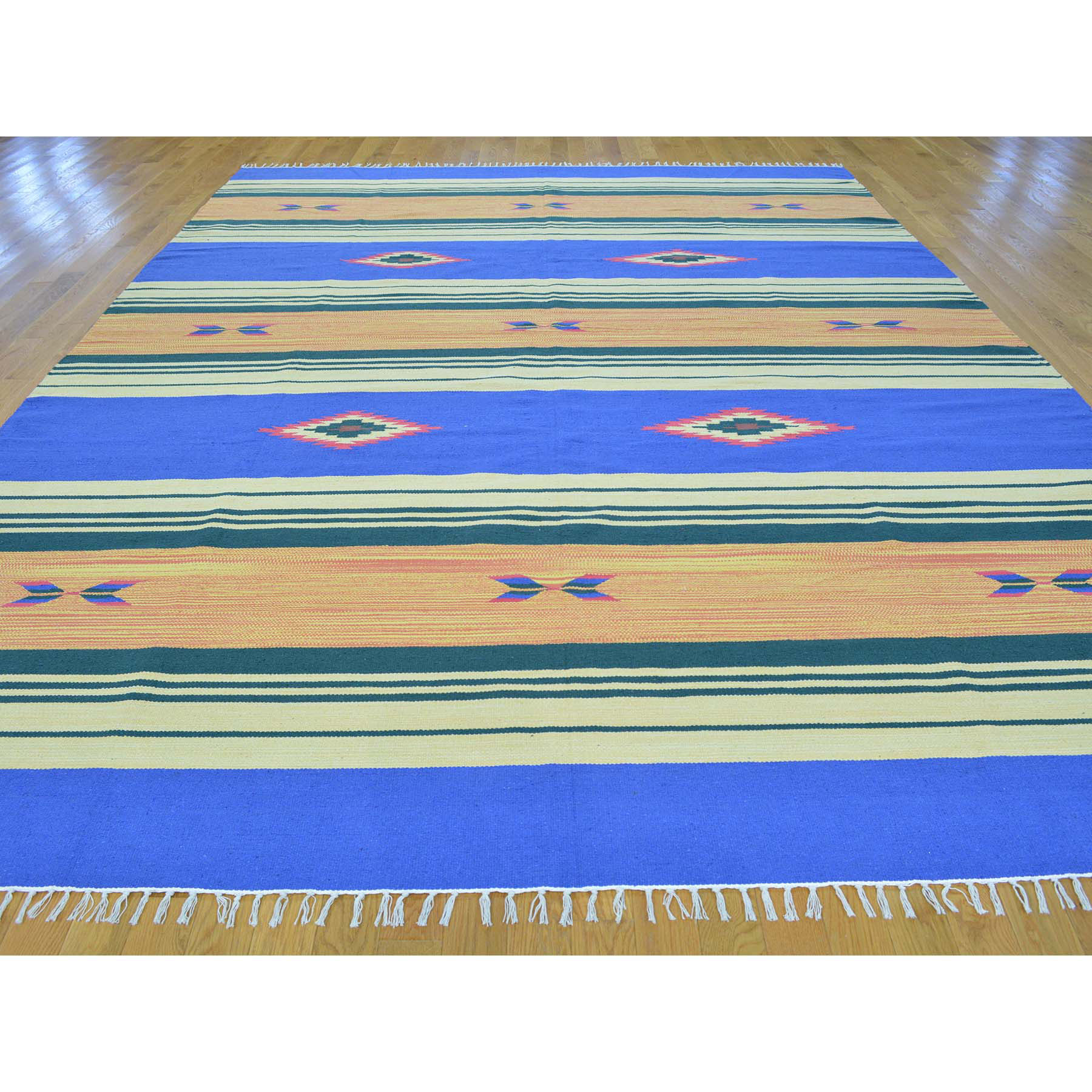 8-10 x12-1  Flat Weave Hand Woven Killim Southwestern Design Rug