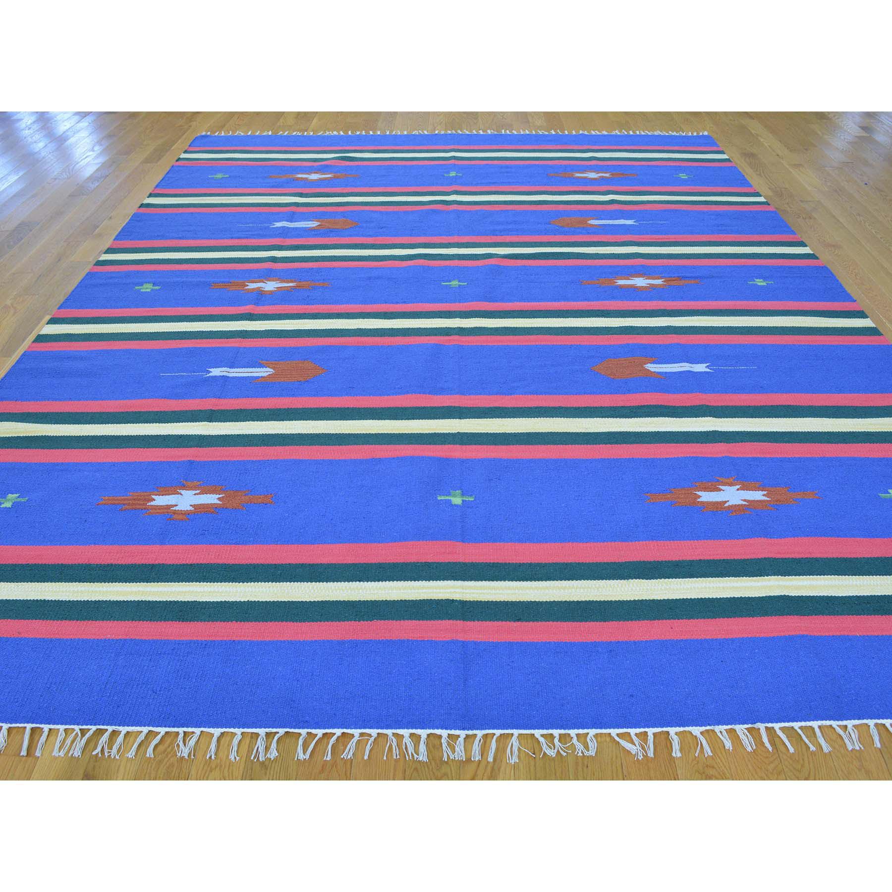 8-x10-2  Navajo Design Flat Weave Hand Woven Killim Rug