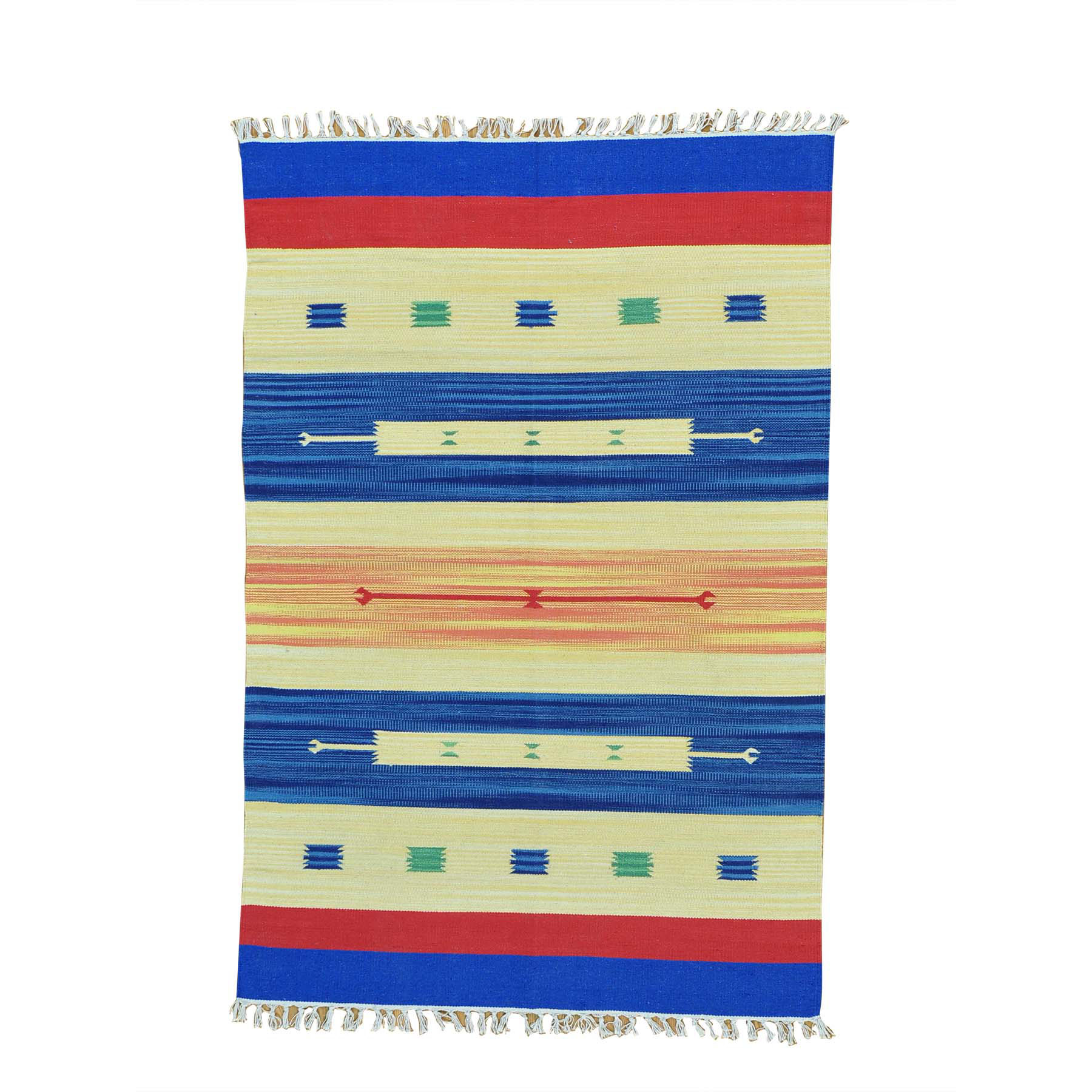 4'x6' Flat Weave Killim Hand Woven Navajo Design Rug