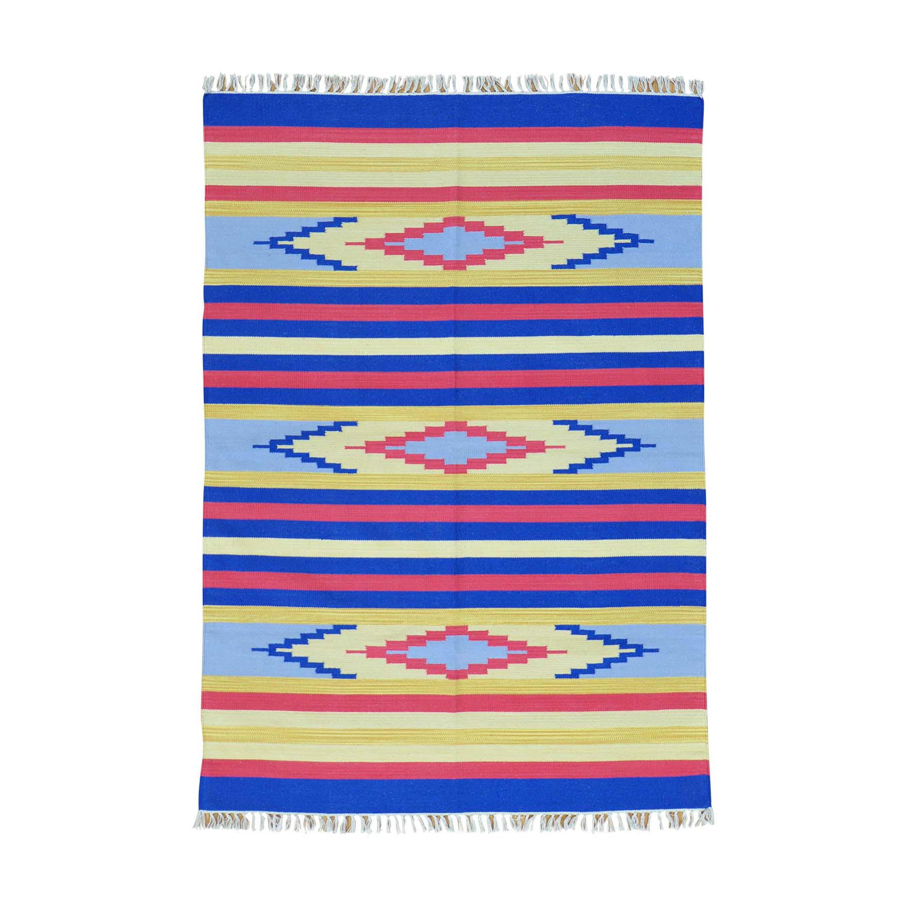 "5'x7'1"" Flat Weave Hand Woven Navajo Design Reversible Killim Rug"