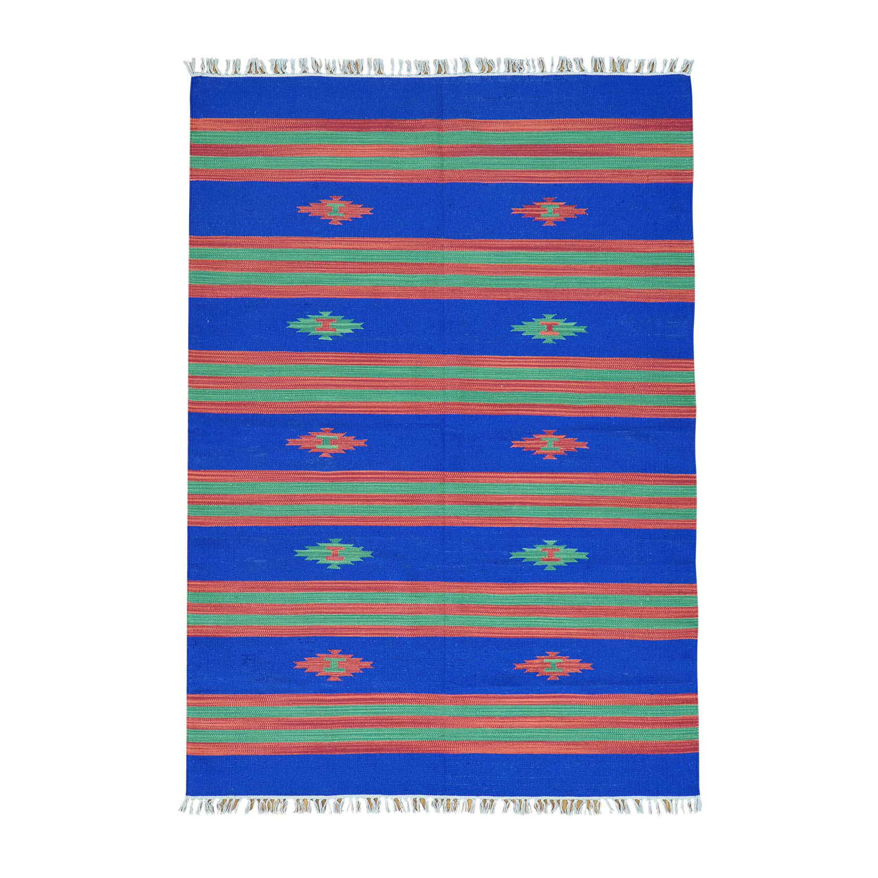 "5'1""X7'2"" Flat Weave Hand Woven Navajo Design Striped Killim Rug moab6abc"