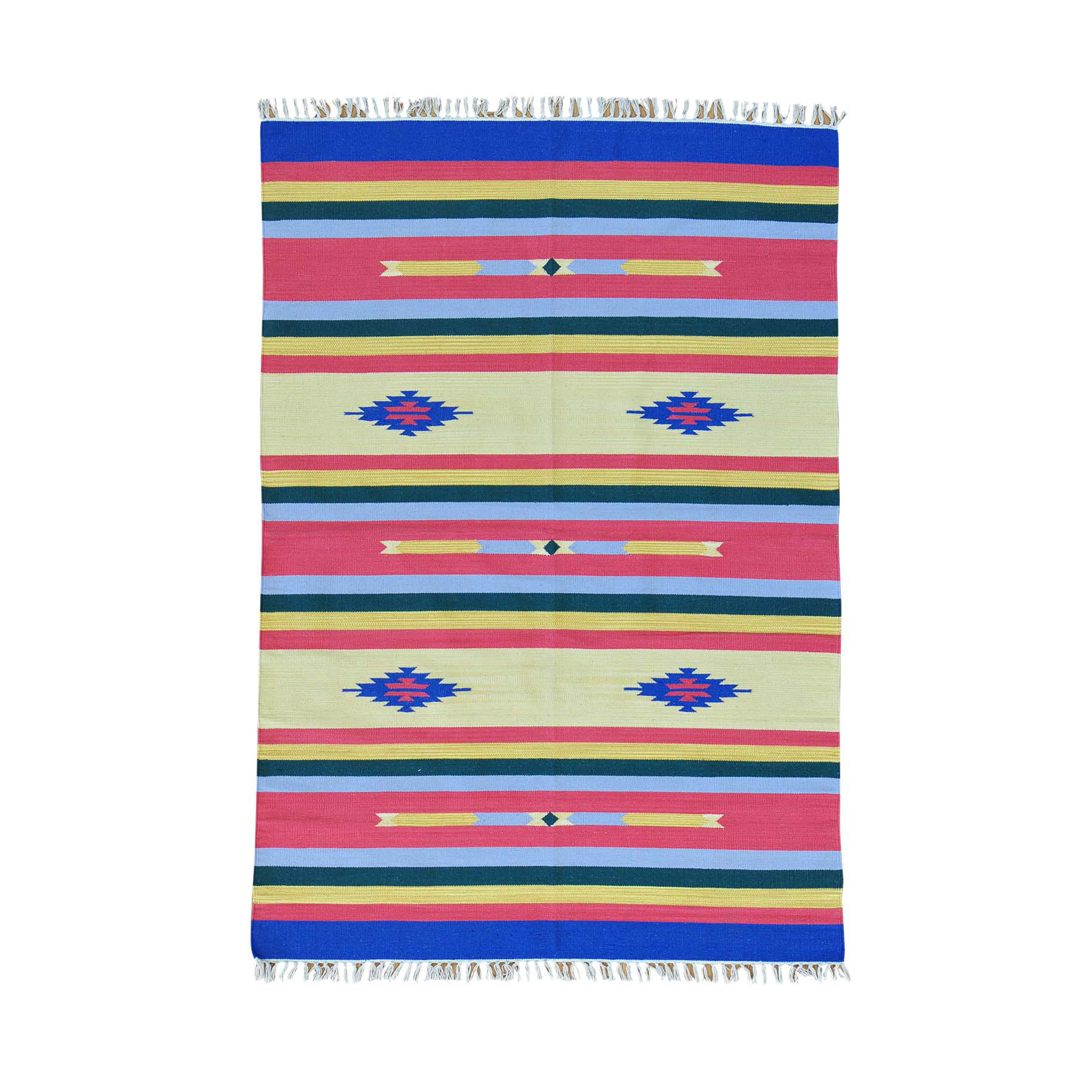"5'X7'1"" Navajo Design Flat Weave Kilim Hand Woven Rug moab6ab6"