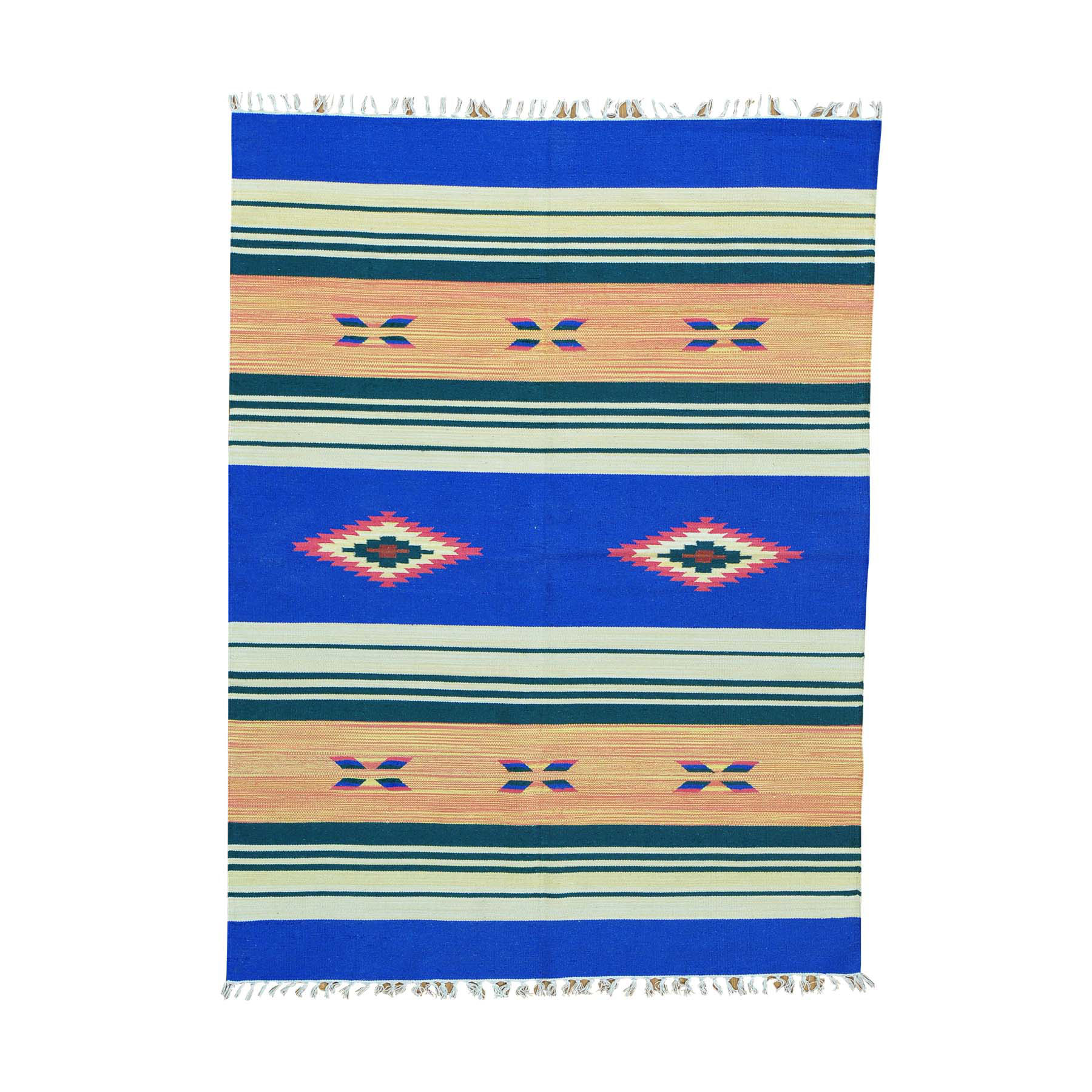 5-1 x7- Striped Kilim Flat Weave Hand Woven Southwest Design Rug