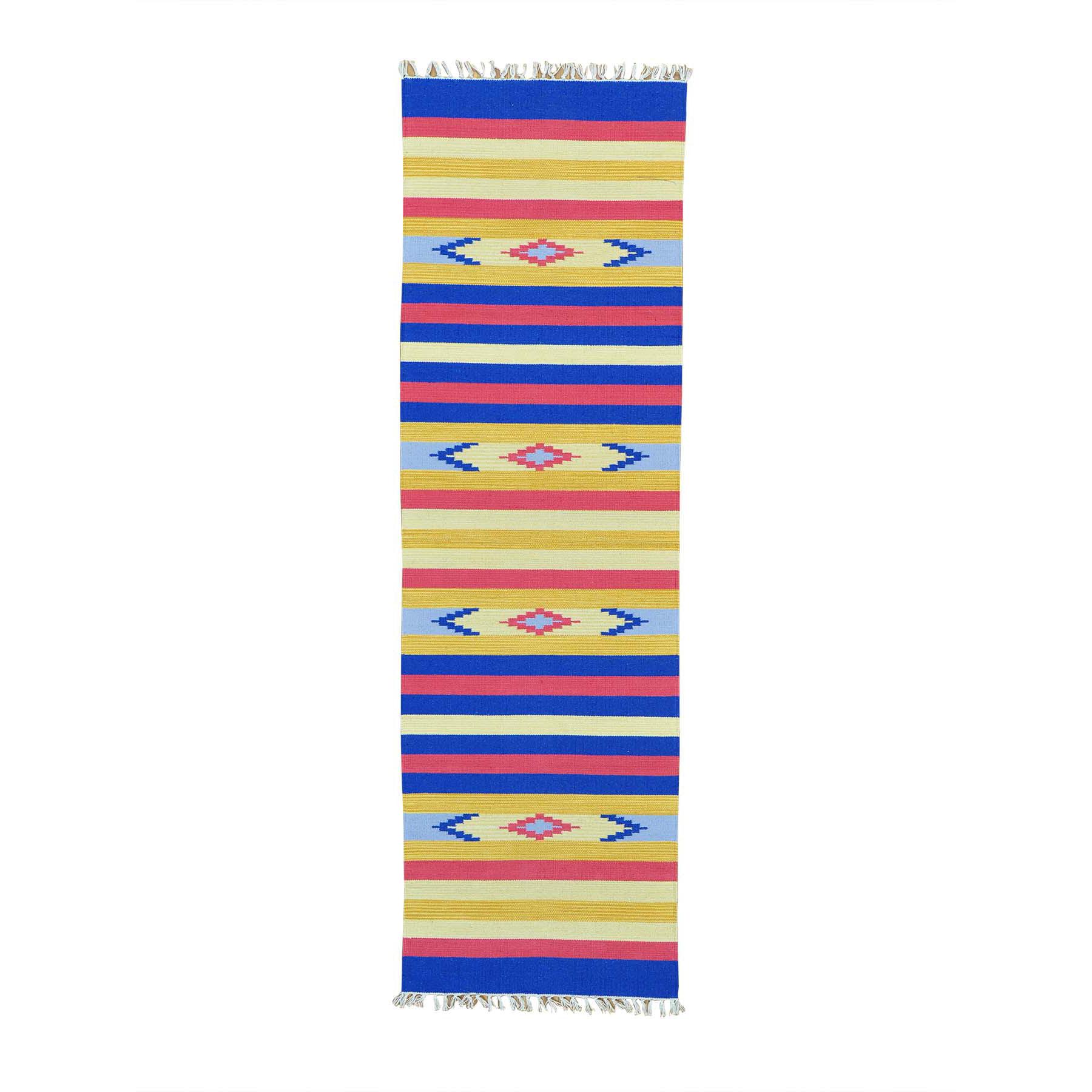 "2'6""X8' Flat Weave Kilim Southwestern Design Runner Hand Woven Rug moab6aee"