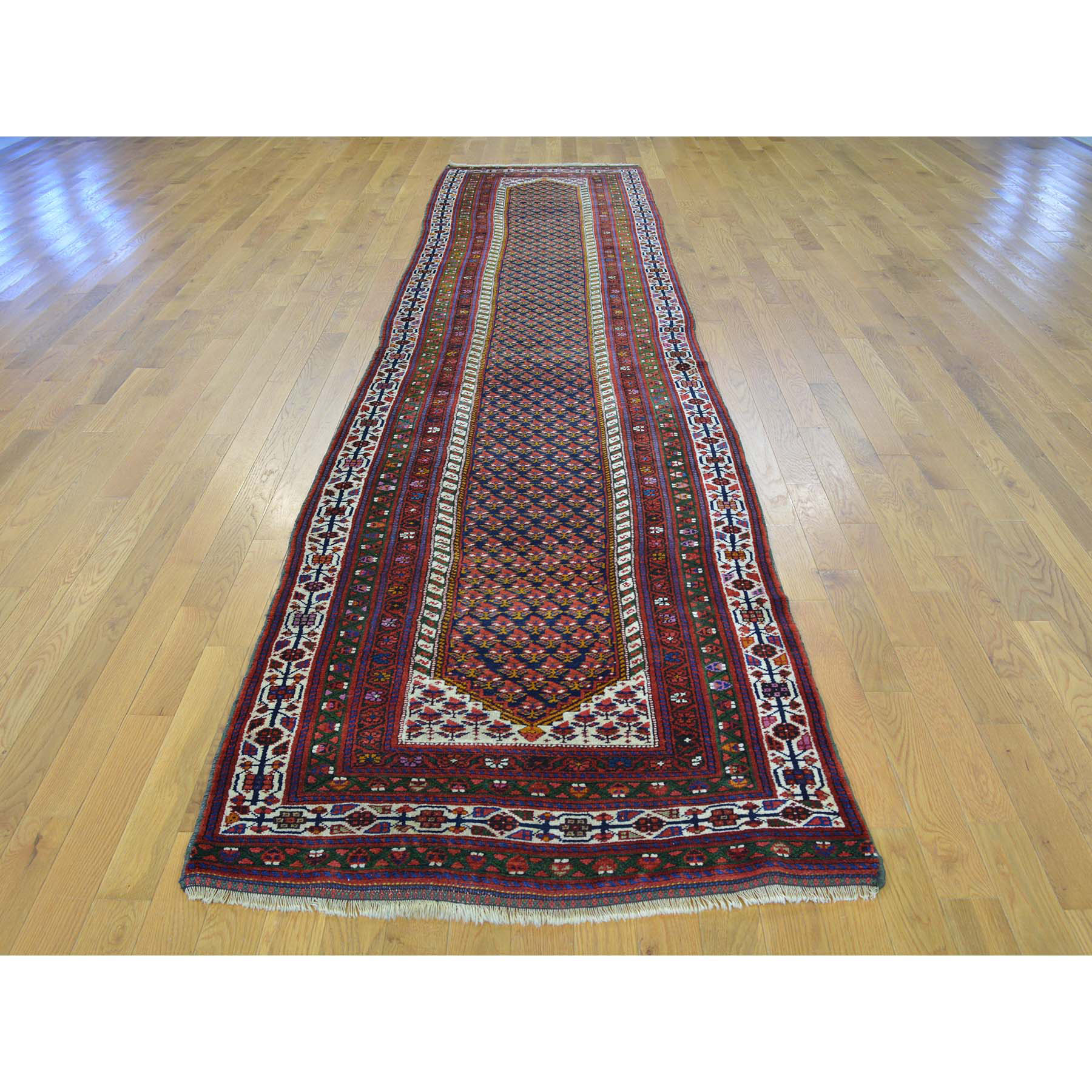 3-2 x13-10  Antique Persian Northwest Boteh Design Runner Handmade Rug