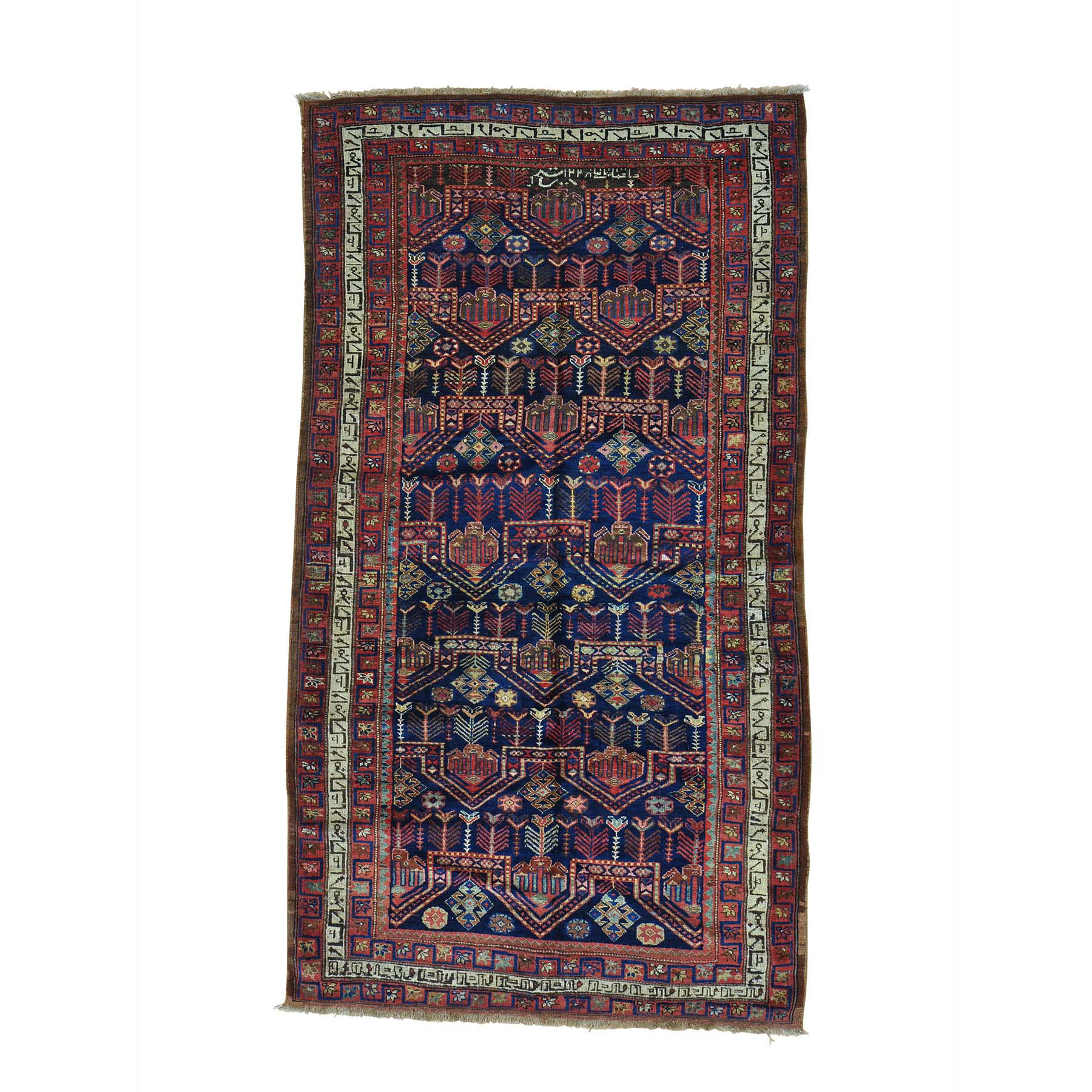 "4'9""X8'9"" Antique Persian Kurdish Bijar Exc Cond Hand Knotted Wide Runner Rug moab6a77"
