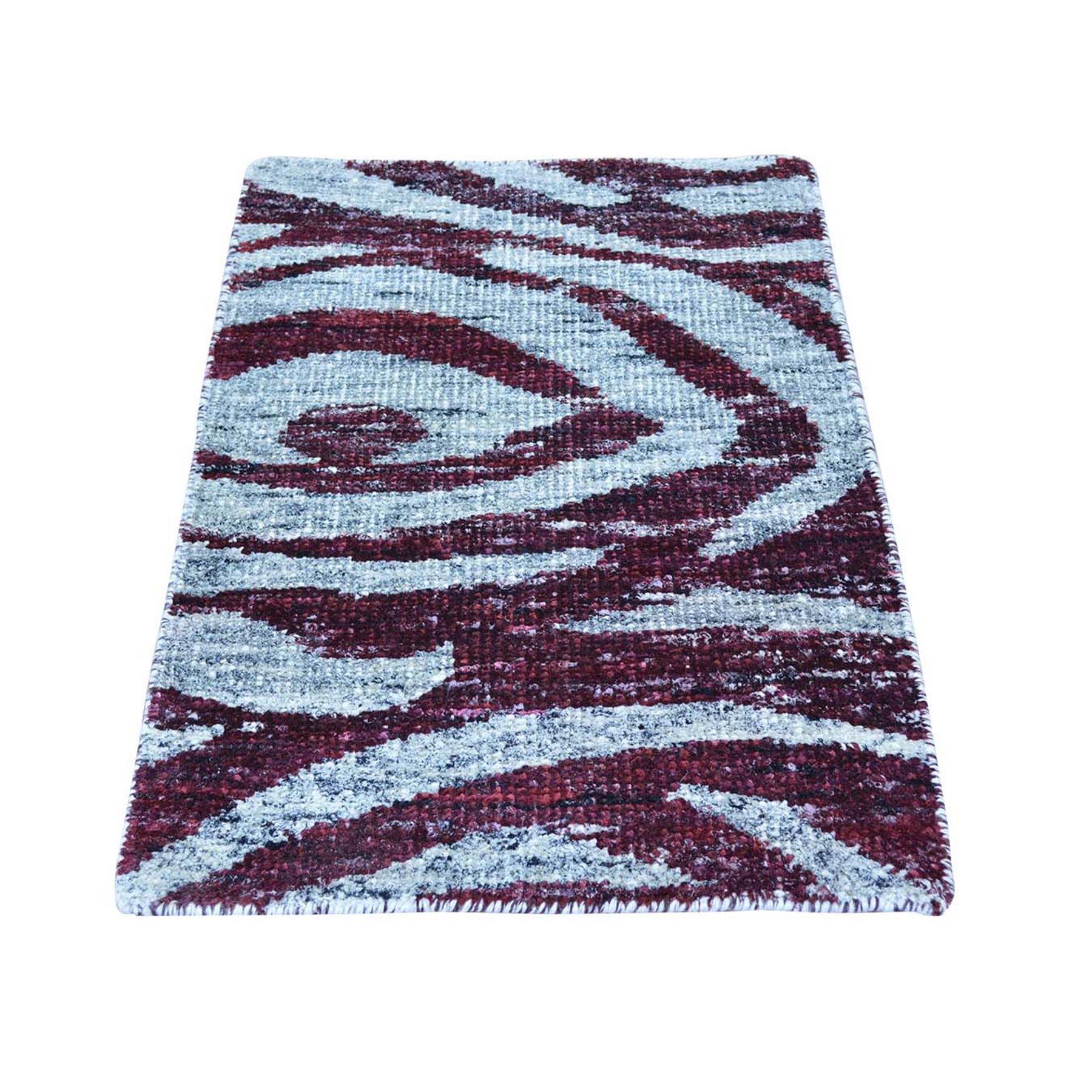 2'X3' Multicolored Modern Sari Silk Handmade Rug moab6a8d