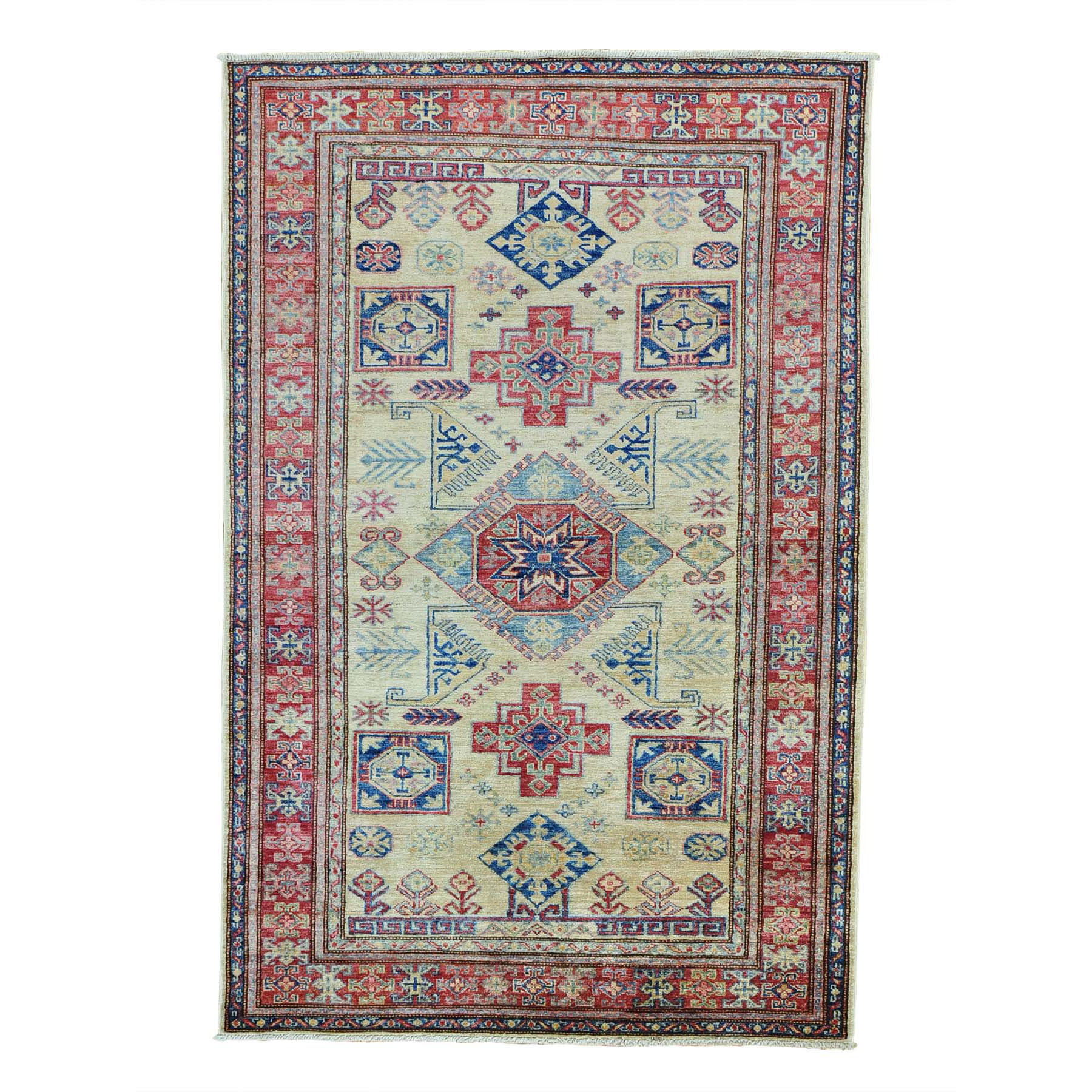 "4'X6'2"" Super Kazak Tribal Design Hand Knotted Pure Wool Oriental Rug moab6cc9"
