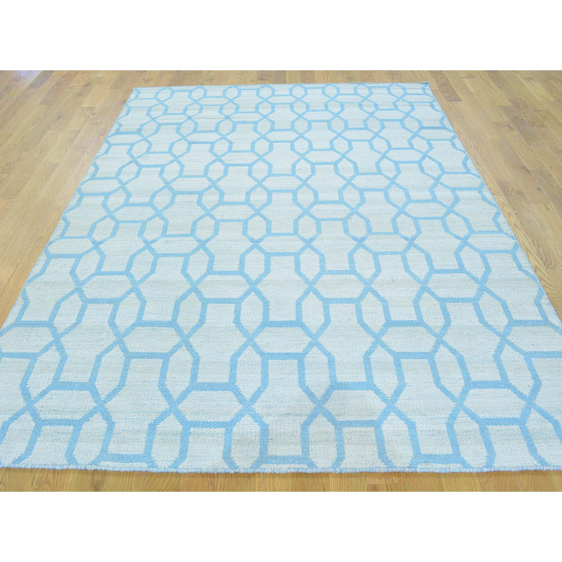 5-4 x7-3  Sky Blue Hand Woven Reversible Flat Weave Kilim Rug
