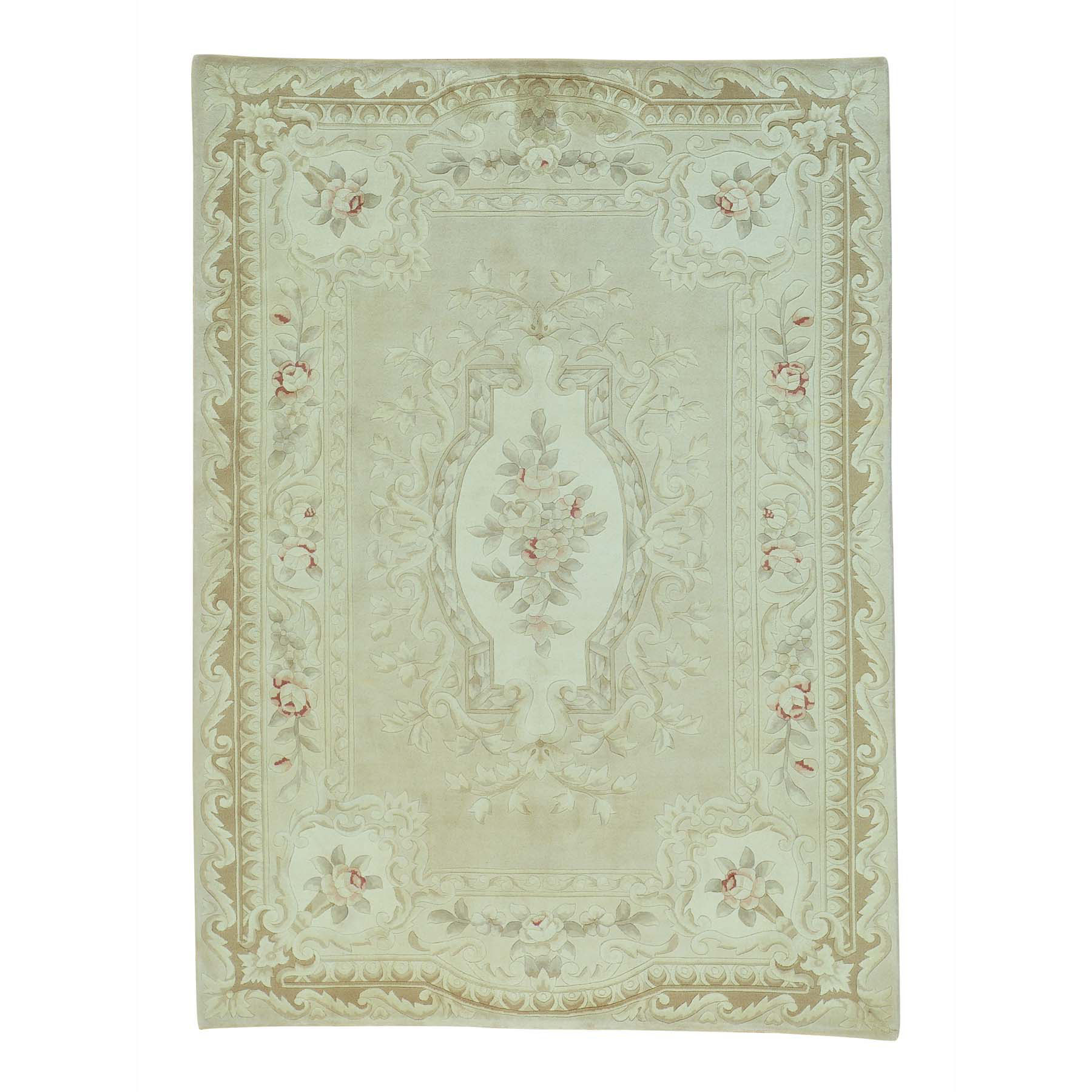 "5'8""X7'10"" Aubusson Thick And Plush Hand Knotted Wool And Silk Rug moab66d7"