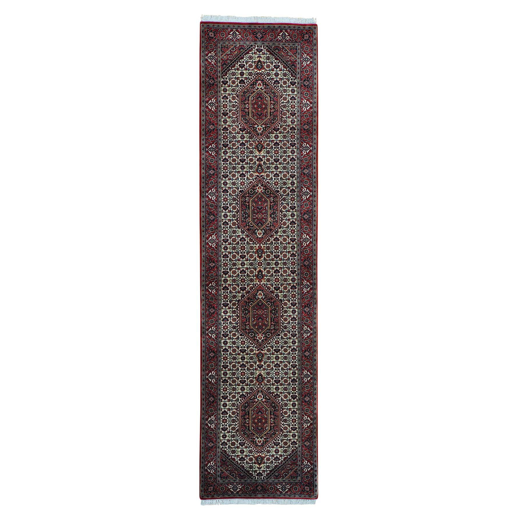 "2'9""x11'4"" Hand Knotted Wool and Silk Runner Bijar  Mahi Oriental Rug"