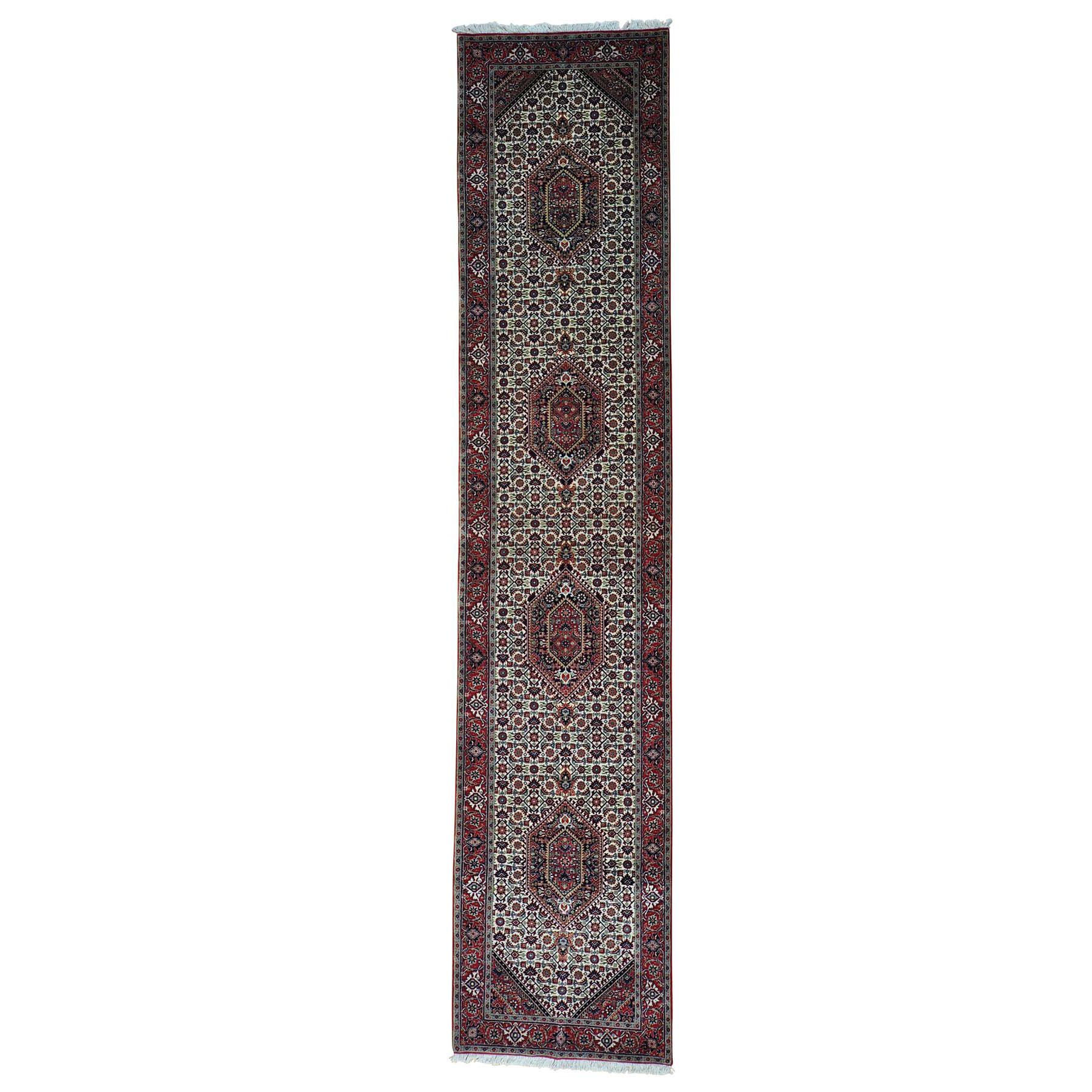 "2'9""x13'5"" Bijar Mahi Wool and Silk Runner Hand Knotted Oriental Rug"