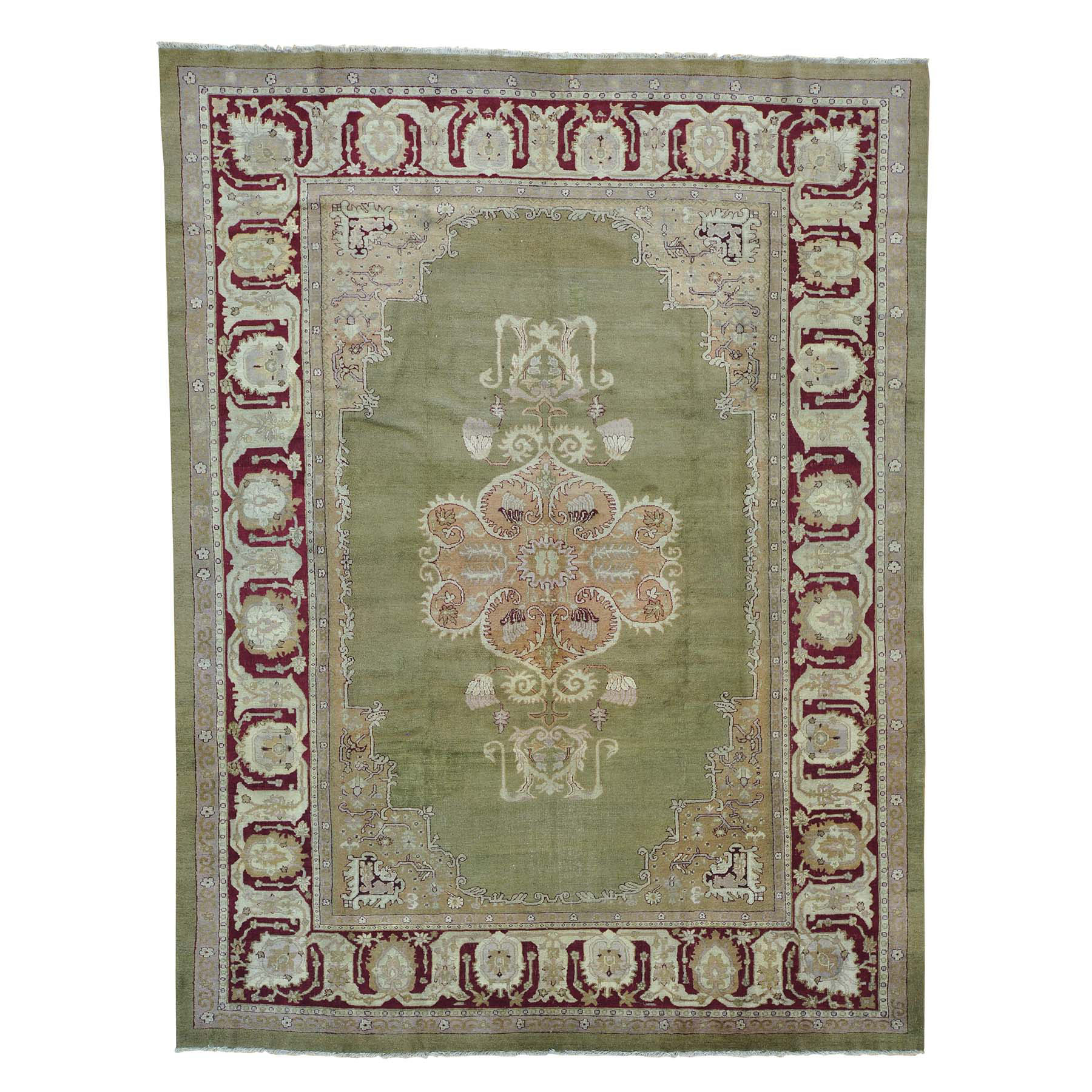 "9'X11'7"" Antique Agra Mint Condition Full Pile Medallion Design Rug moab6880"