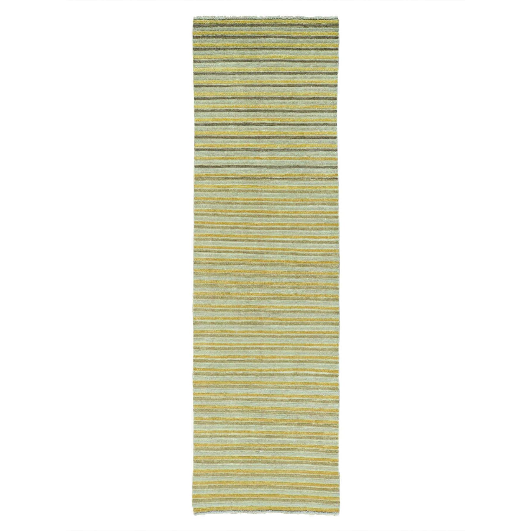 "2'7""X8'6"" Pure Wool Runner Striped Modern Gabbeh Handmade Oriental Rug moab6896"