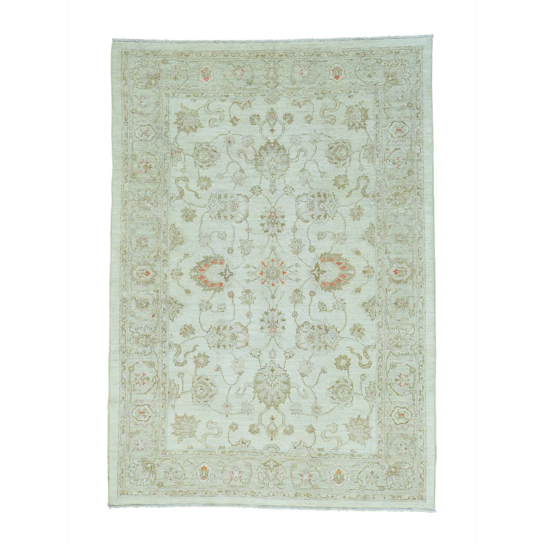 "6'X8'9"" Oushak Ivory Pure Wool White Wash Hand Knotted Oriental Rug moab69da"
