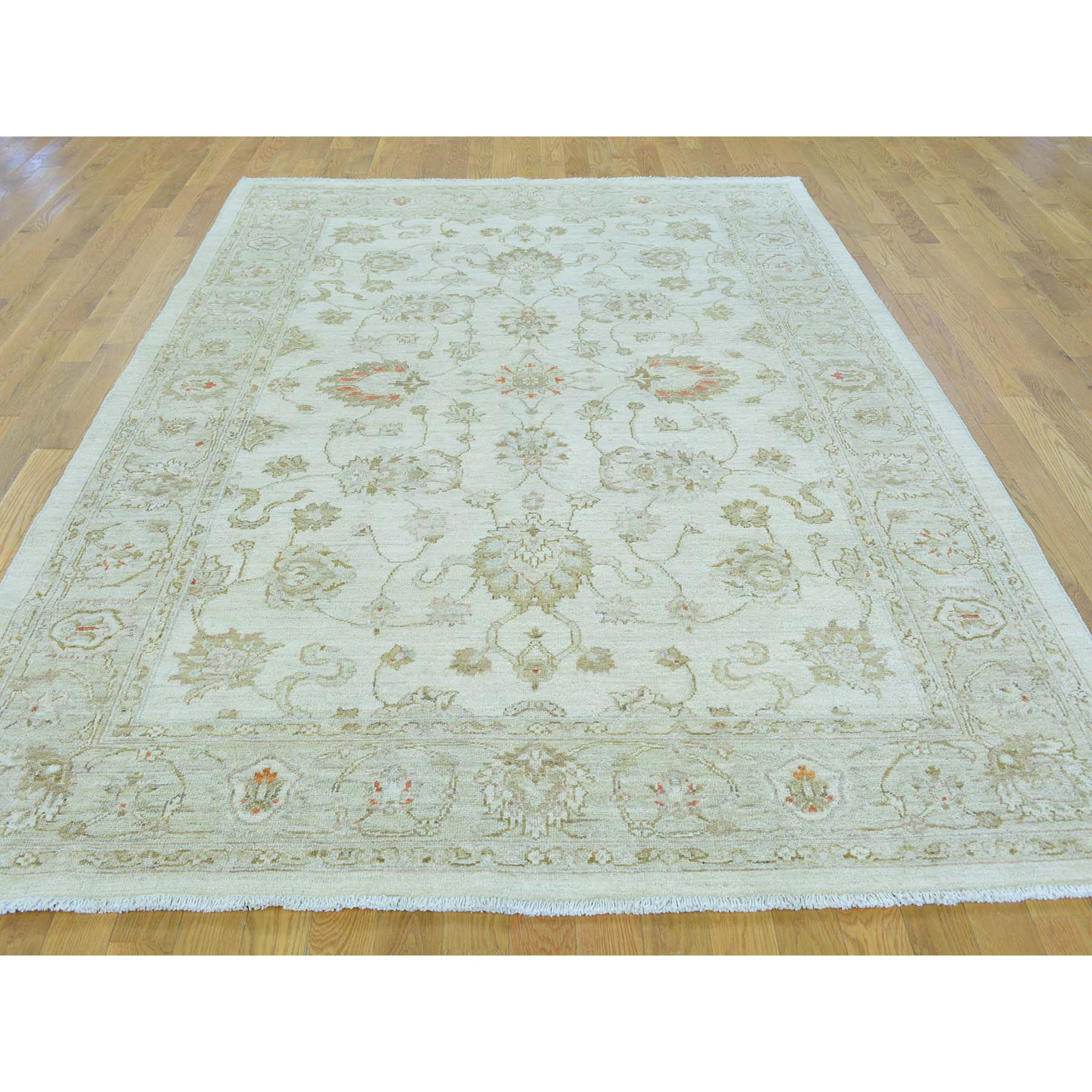 6-x8-9  Oushak Ivory Pure Wool White Wash Hand Knotted Oriental Rug