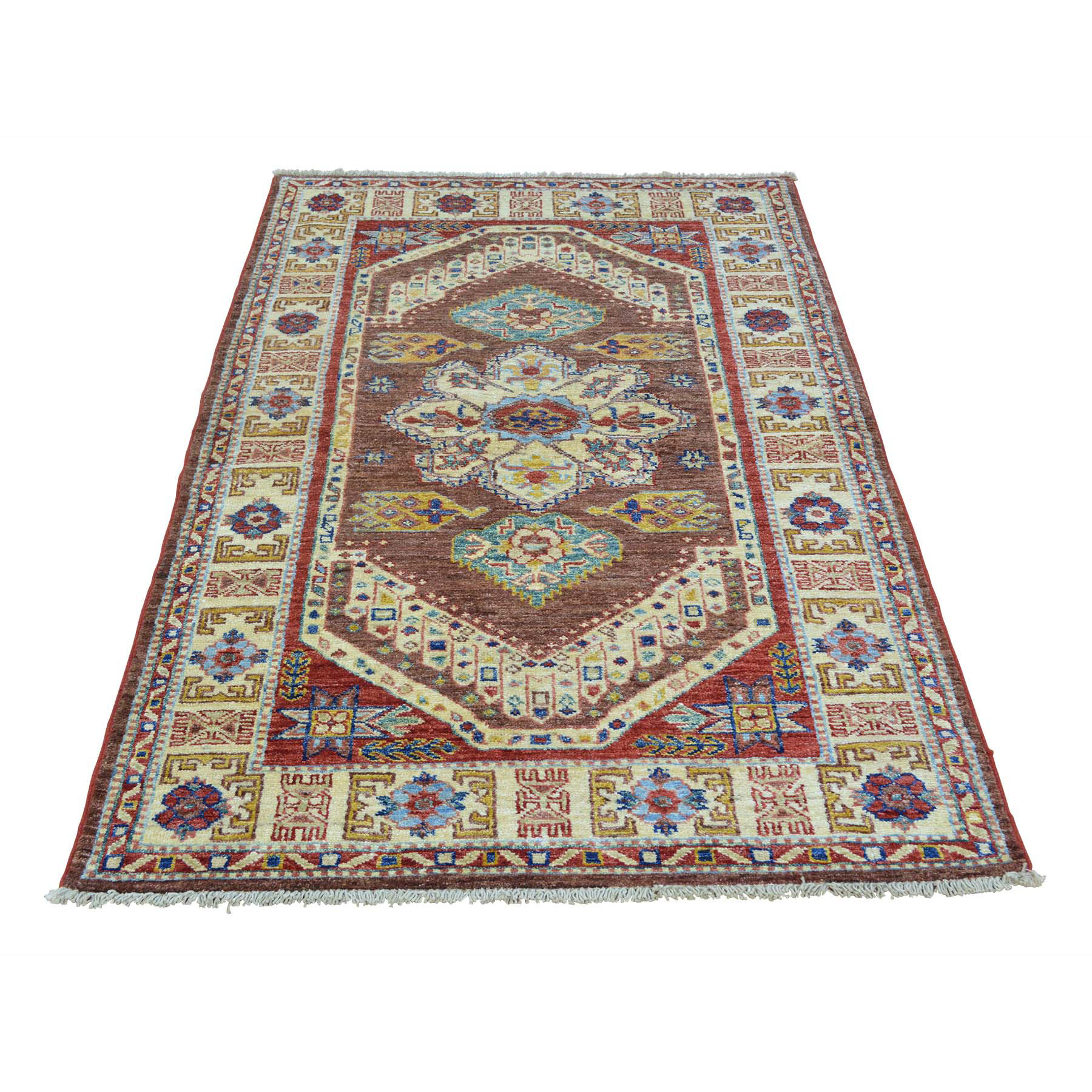 "3'2""X5'2"" Chocolate Brown Super Kazak Handmade Pure Wool Oriental Rug moab698d"