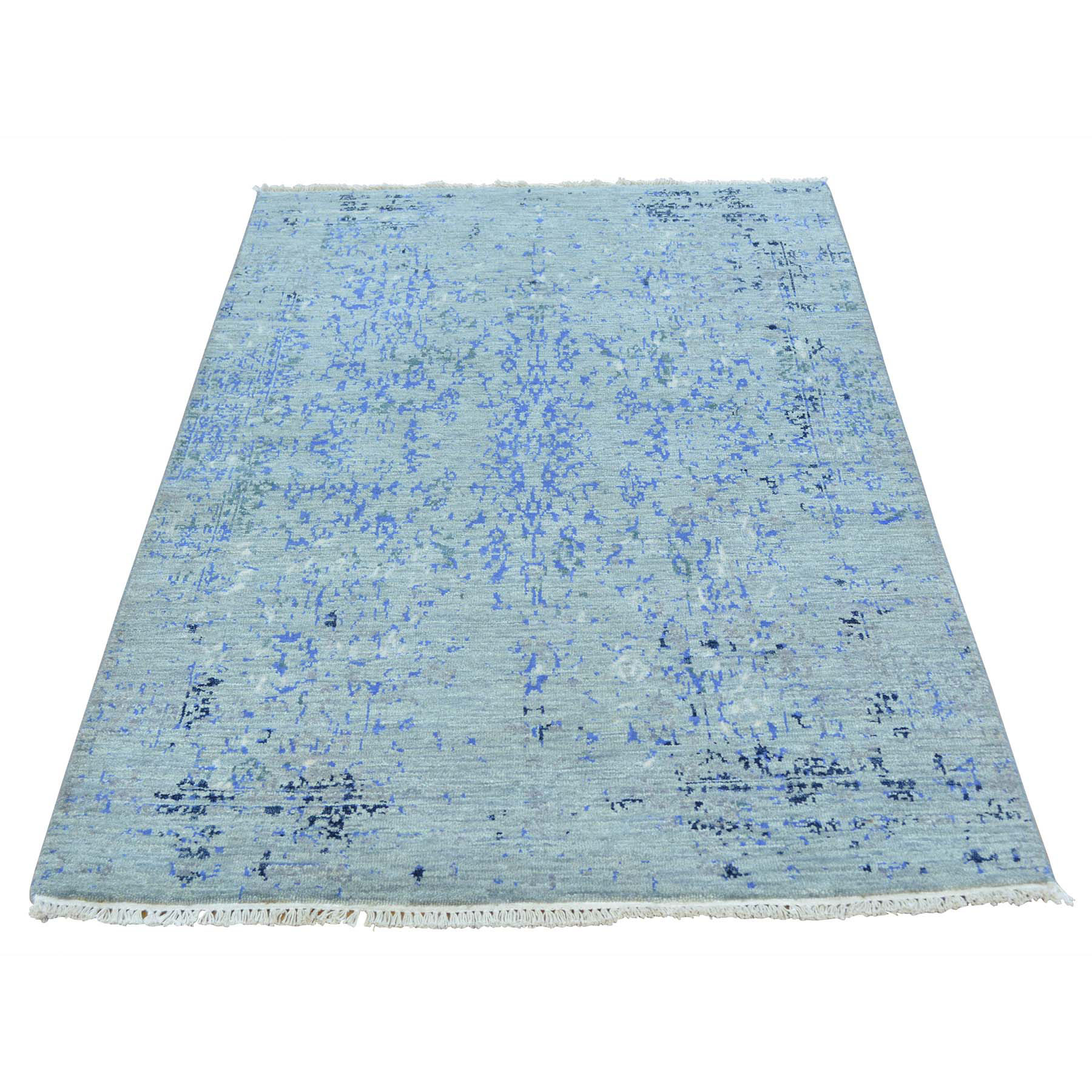 "3'1""X5'2"" Wool And Silk Broken Design Tone On Tone Handmade Rug moab7ad0"