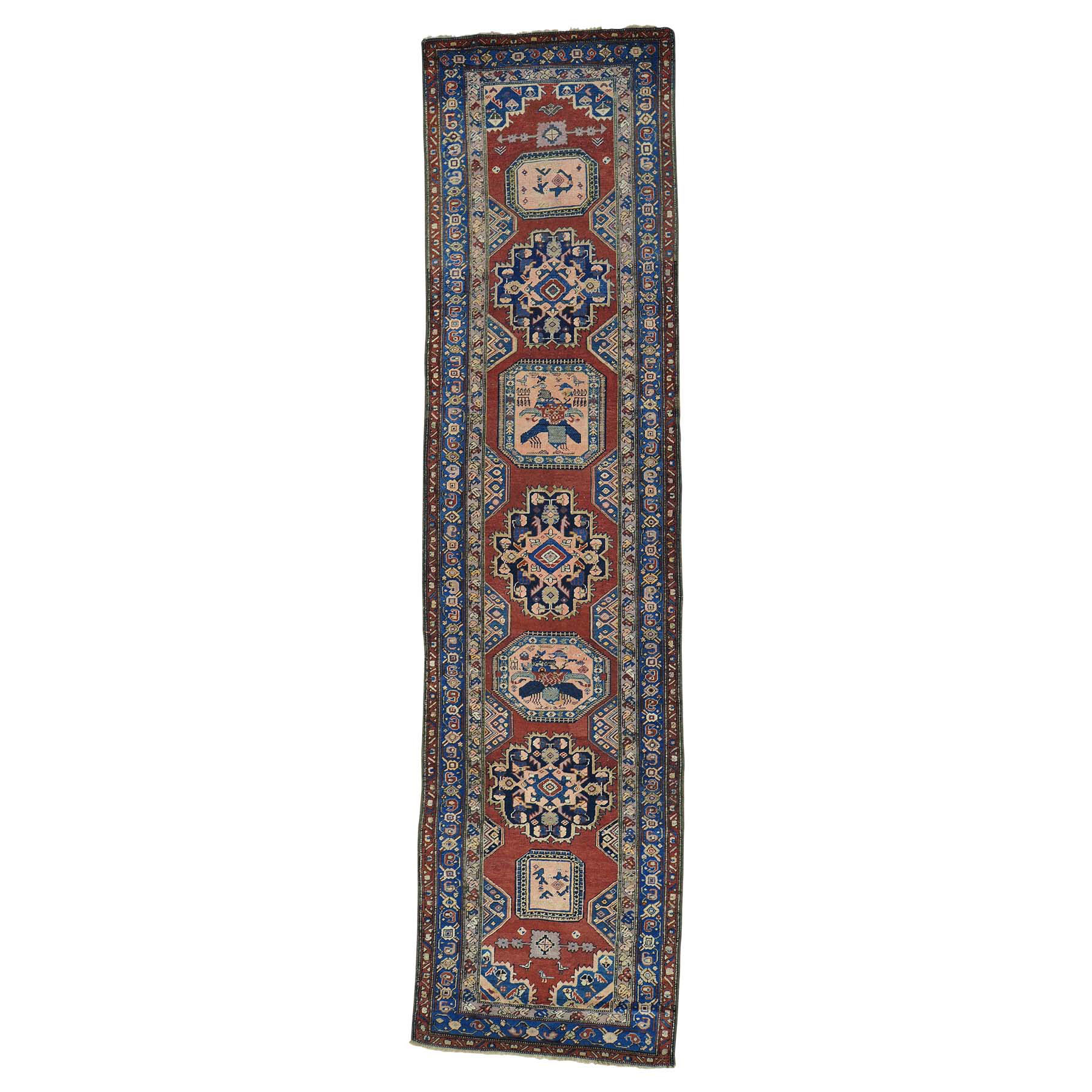 """3'7""""X14'2"""" Antique North West Persian Even Wear Wide Runner Oriental Rug moab7a7e"""
