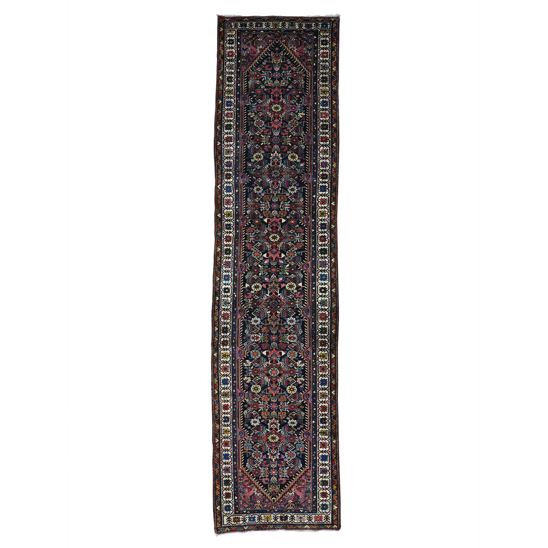 "3'1""X12'9"" Antique Persian Bakhtiari Exc Cond Runner Oriental Rug moab7a78"