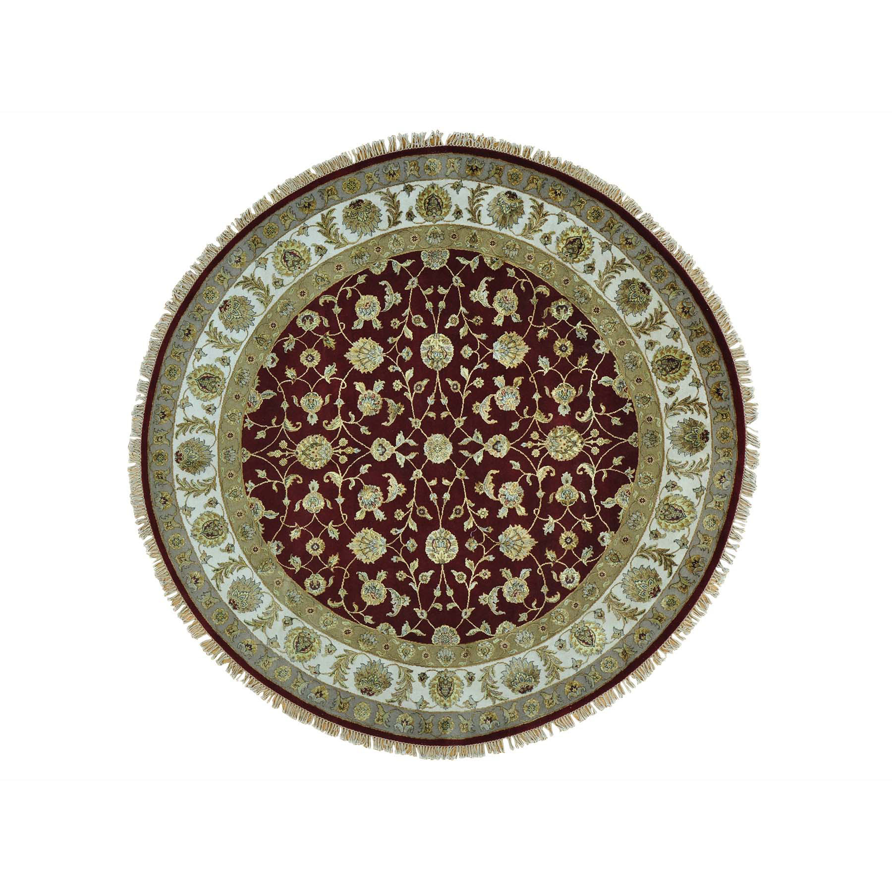 """8'1""""X8'1"""" Half Wool And Half Silk Rajasthan Hand Knotted Round Rug moab7b0c"""