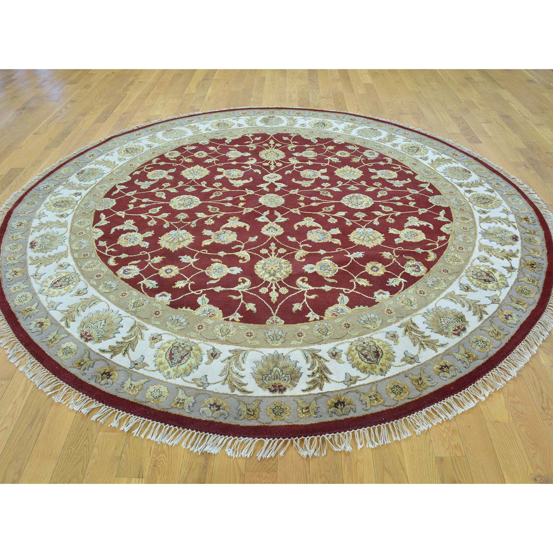 8-1 x8-1  Half Wool And Half Silk Rajasthan Hand Knotted Round Rug