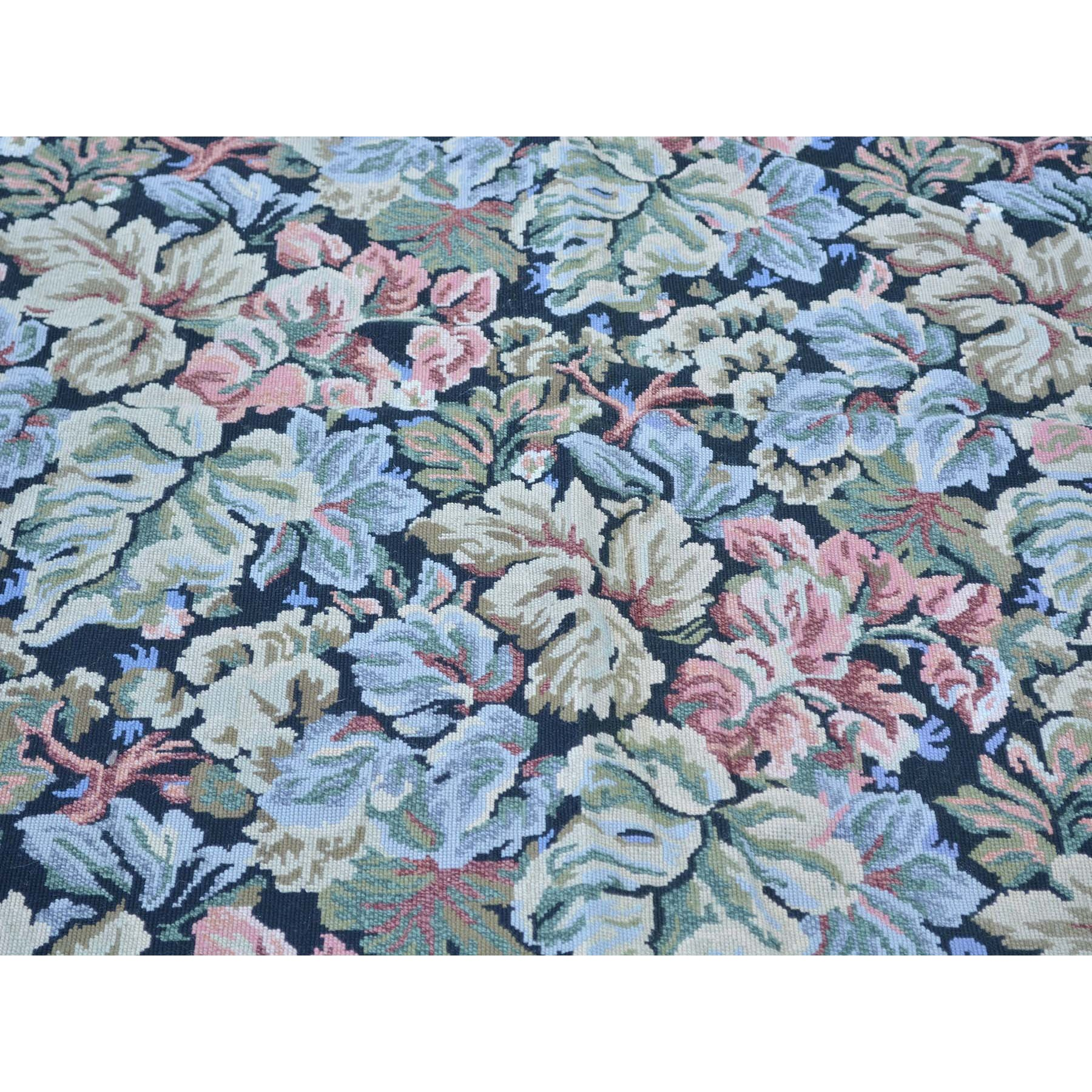 5-9 x8-9  Needlepoint Hand Stitched Botanical Design Pure Wool Rug