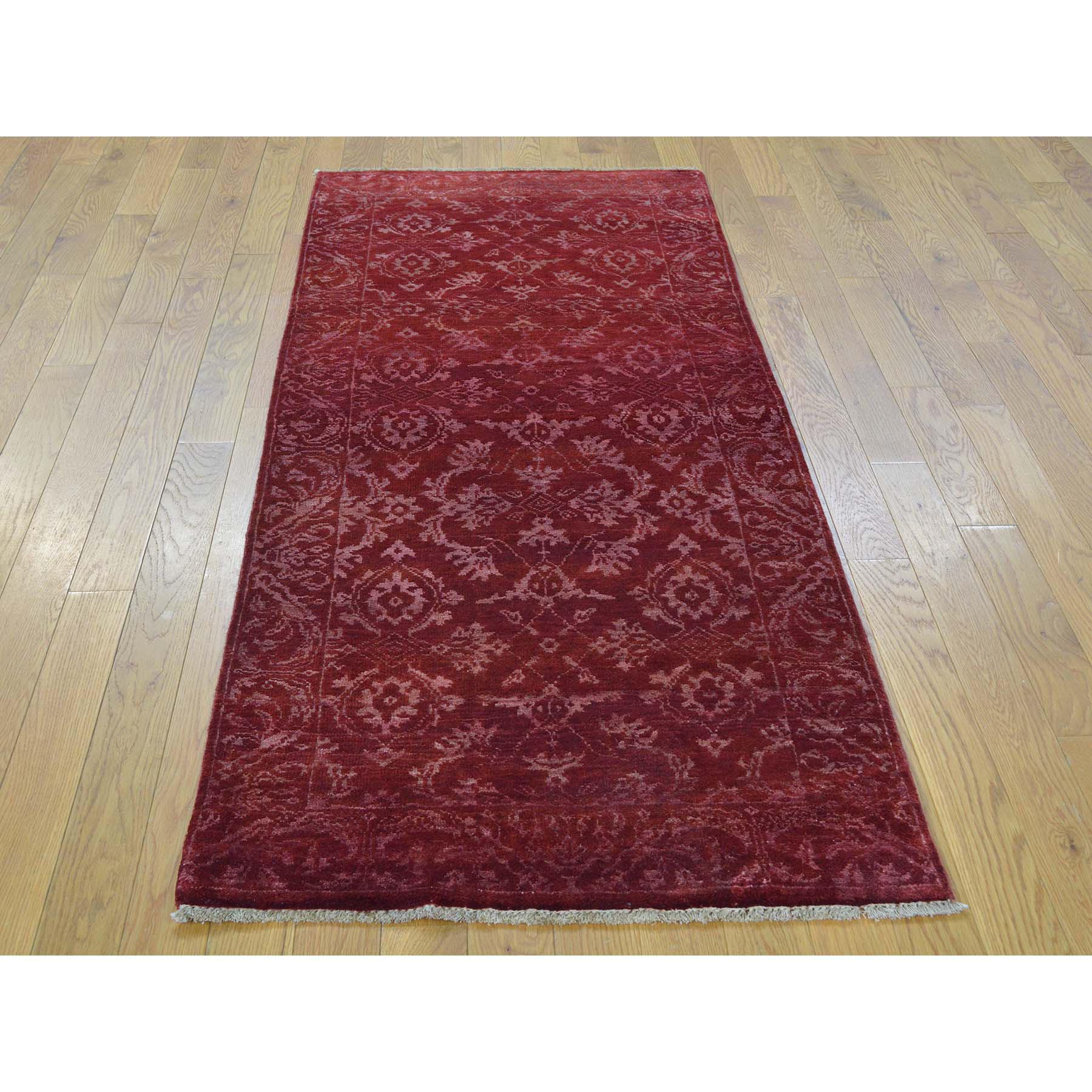 2-7 x6-4  Damask Wool and Silk Runner Tone on Tone Handmade Oriental Rug