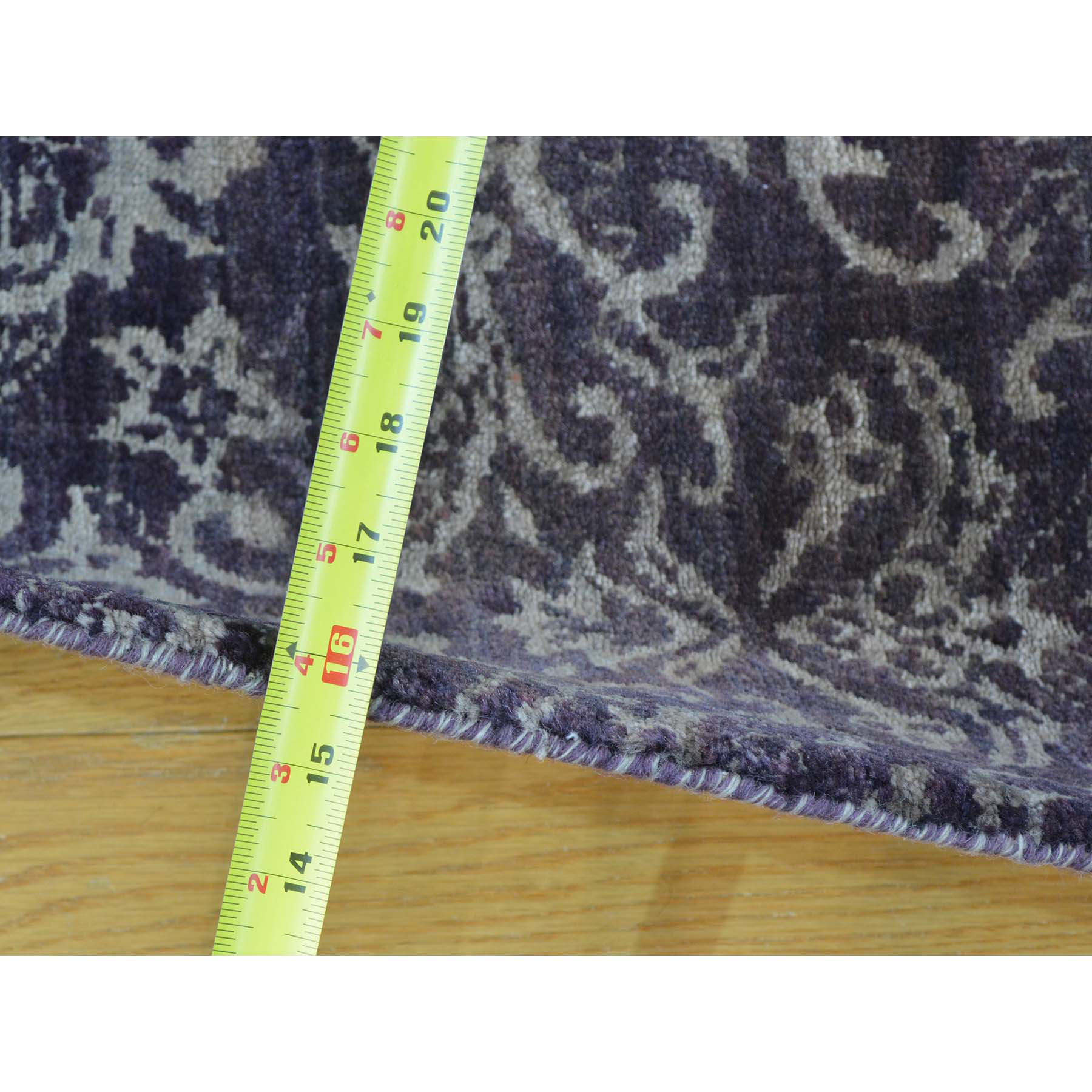 2-4 x9-6  Tone on Tone Damask Wool and Silk Runner Handmade Oriental Rug