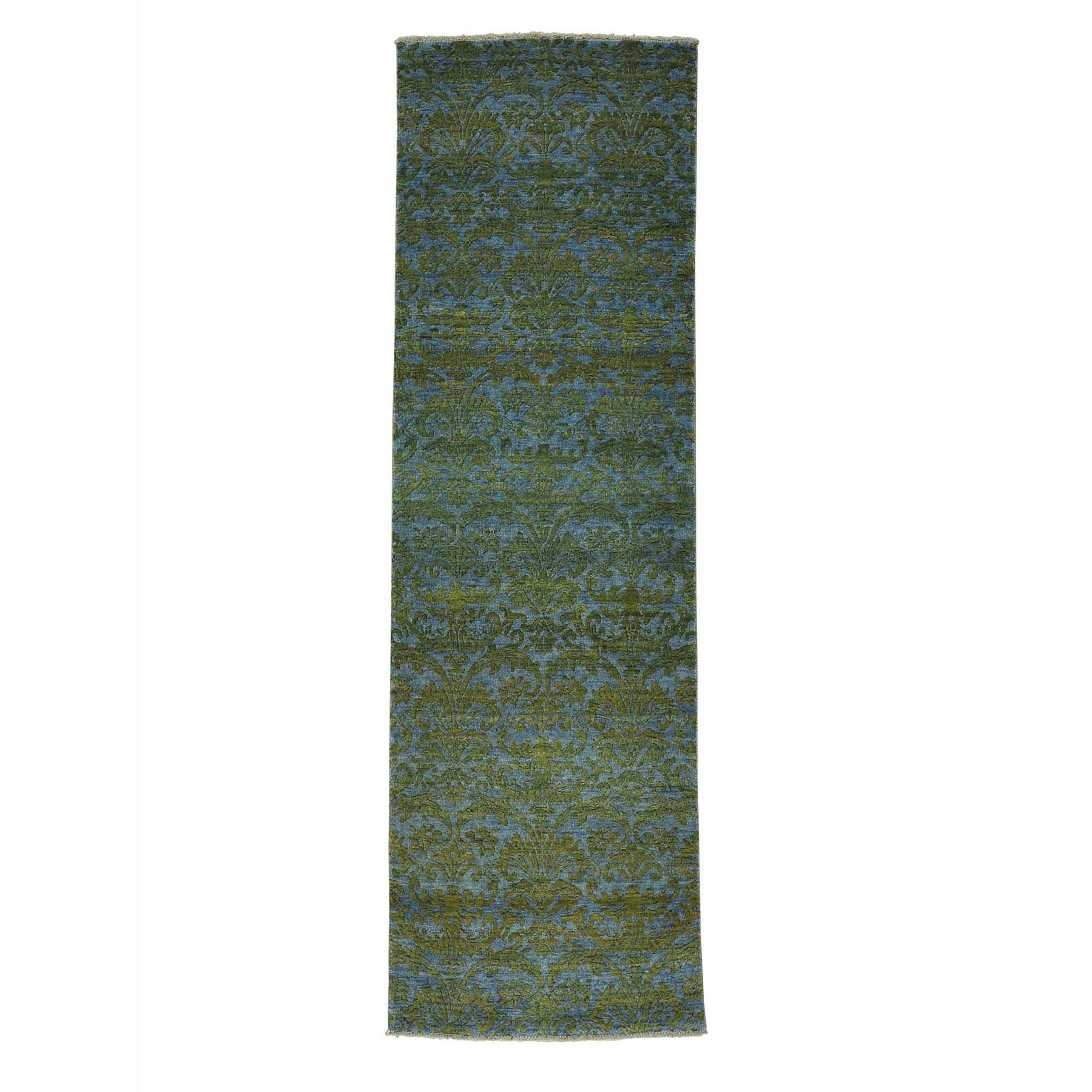 "2'5""X7'9"" Wool And Silk Tone On Tone Damask Runner Handmade Oriental Rug moab7bce"