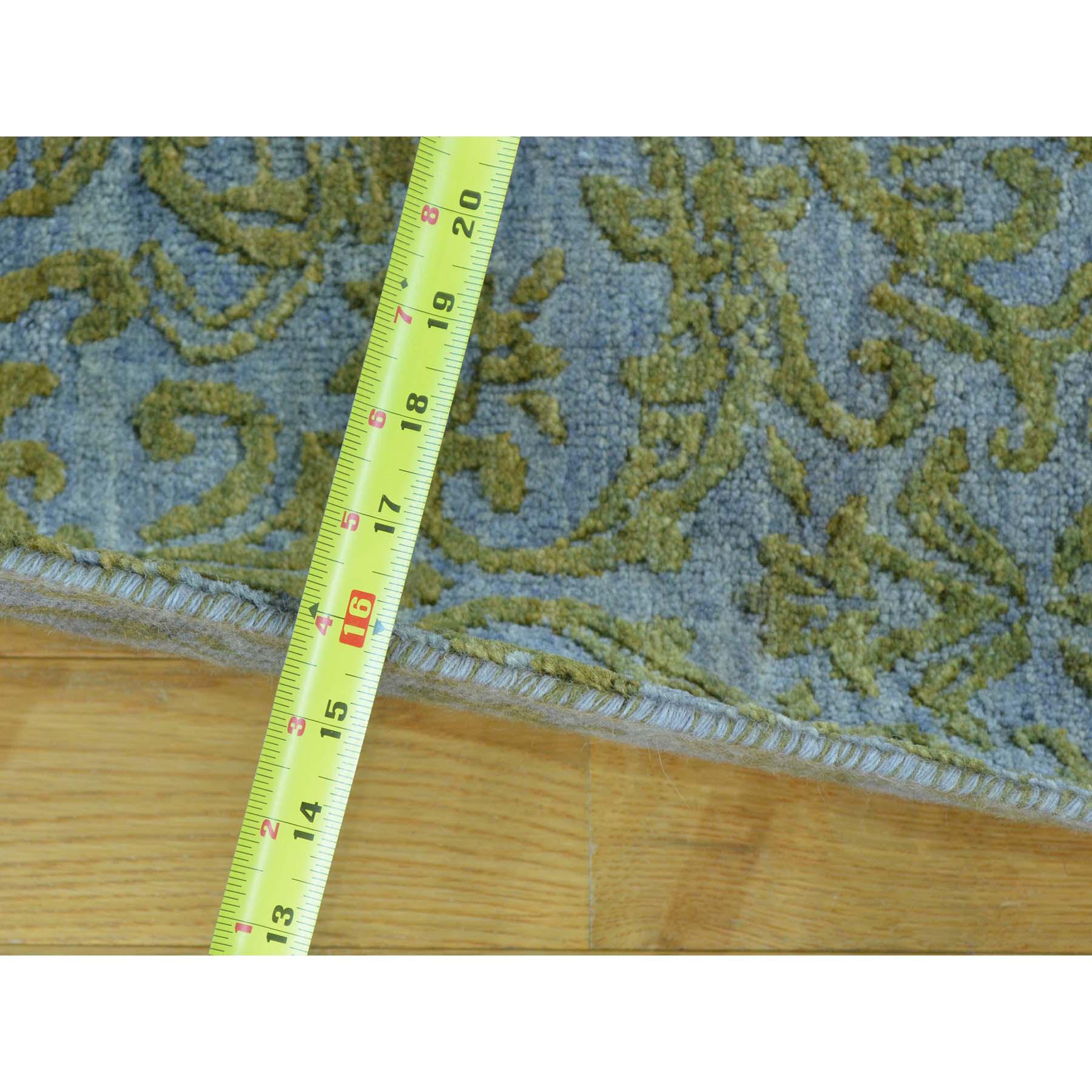 "2'5""x7'9"" Wool and Silk Tone on Tone Damask Runner Handmade Oriental Rug"