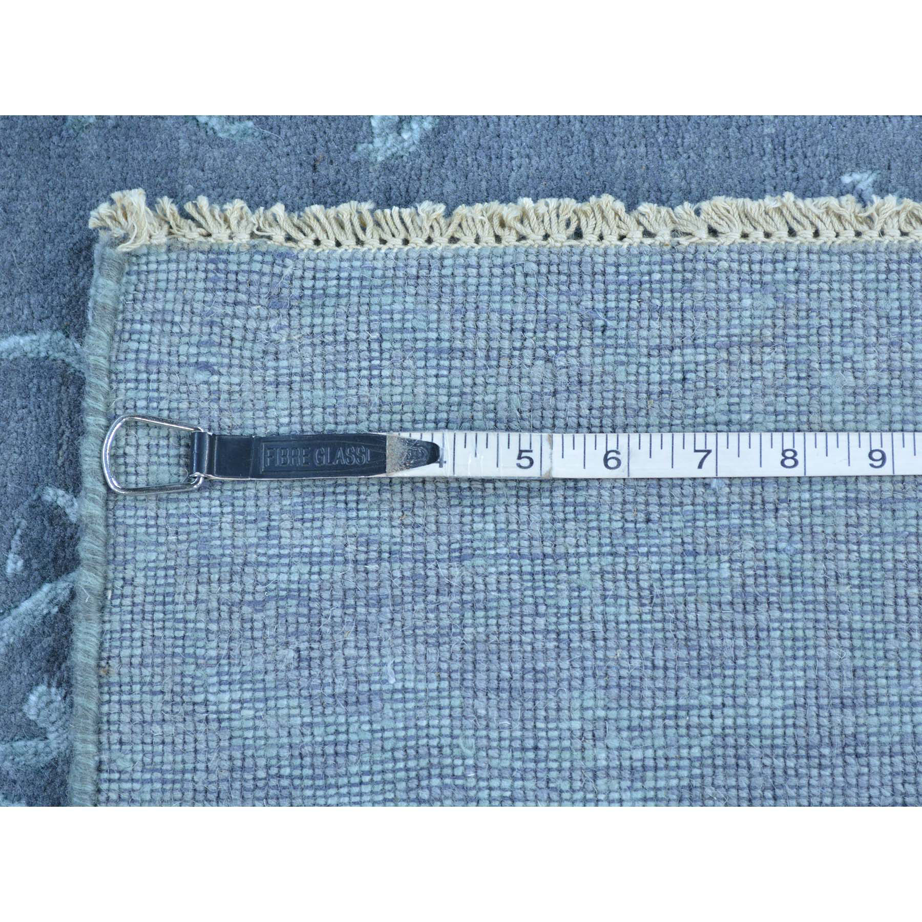 2-9 x6-9  Wool and Silk Damask Runner Tone on Tone Handmade Oriental Rug