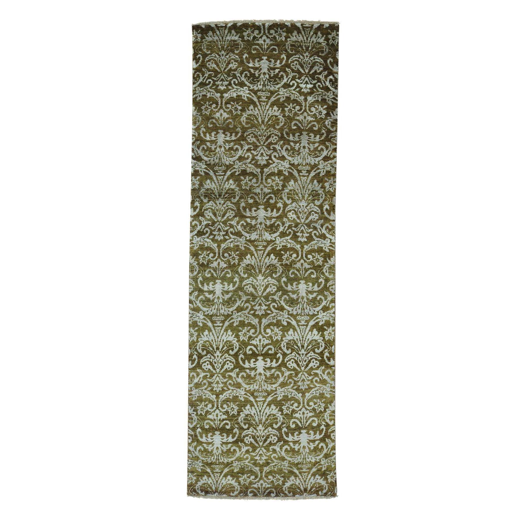 "2'4""X7'6"" Wool And Silk Tone On Tone Damask Runner Handmade Oriental Rug moab7ddc"