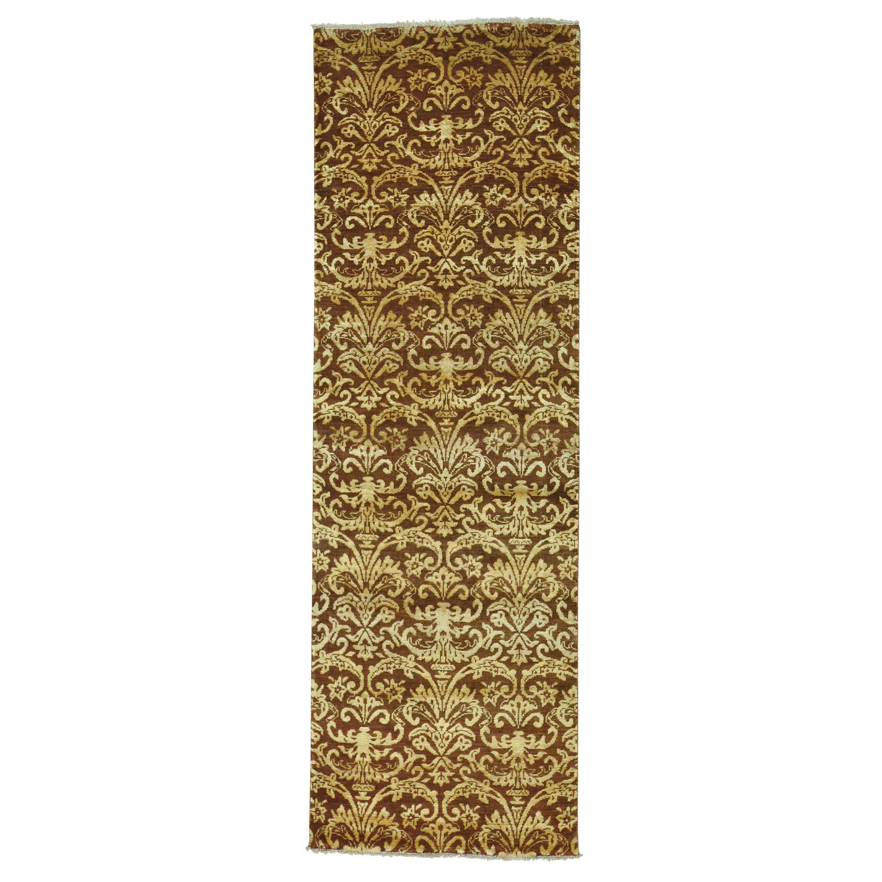 "2'6""X7'9"" Damask Tone On Tone Runner Wool And Silk Handmade Oriental Rug moab7ddd"