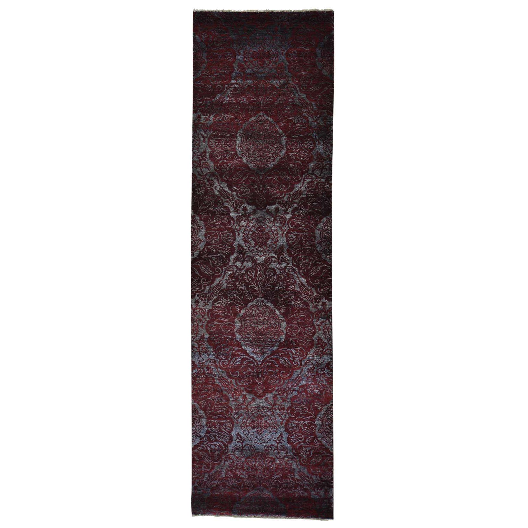 "2'9""X9'9"" Damask Runner Wool And Silk Tone On Tone Handmade Oriental Rug moab7de0"