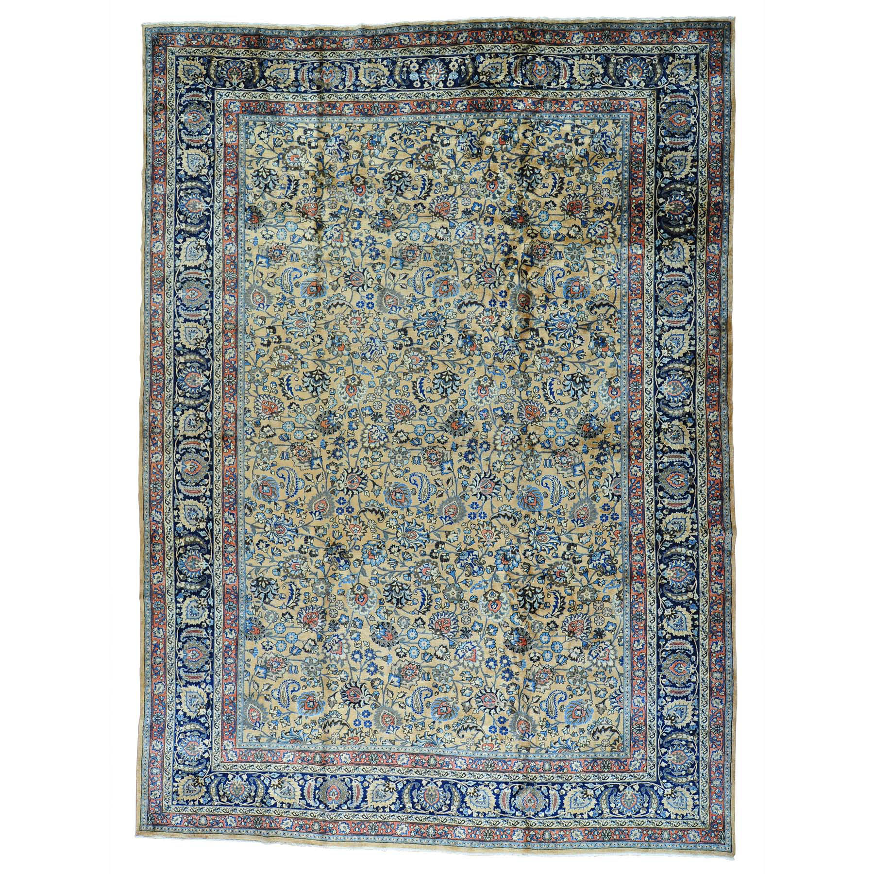 12'x16' Antique Persian Mashad Gallery Size Hand Knotted Oriental Rug