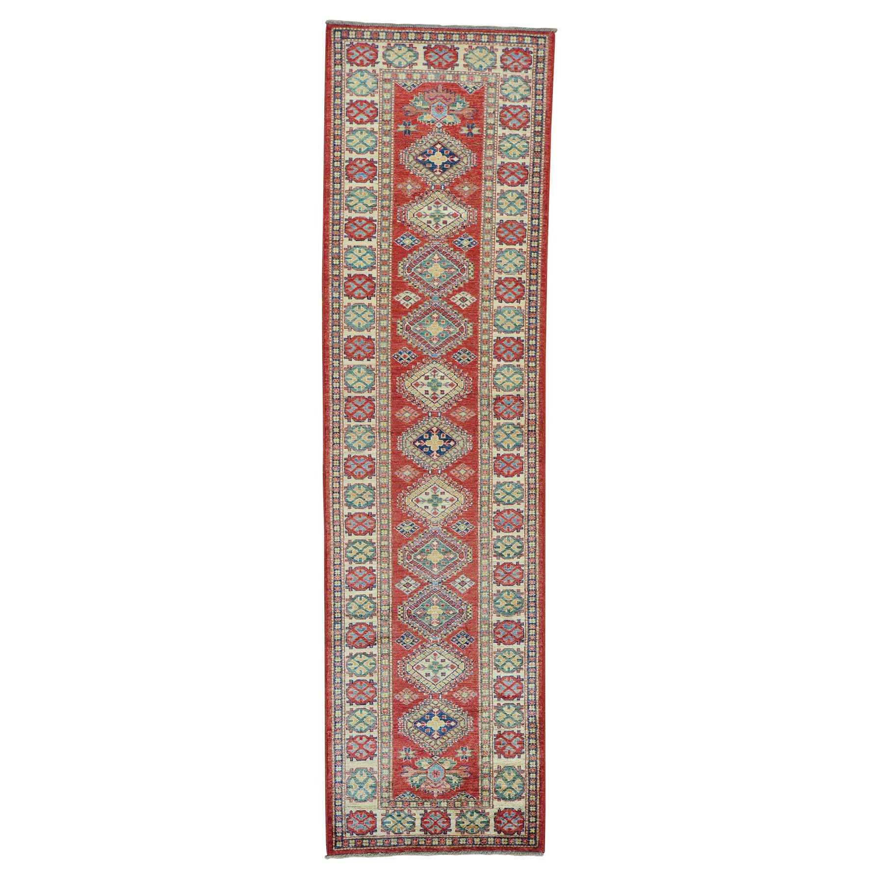 "2'9""X10' Red Super Kazak Runner Pure Wool Hand Knotted Oriental Rug moab7e0b"