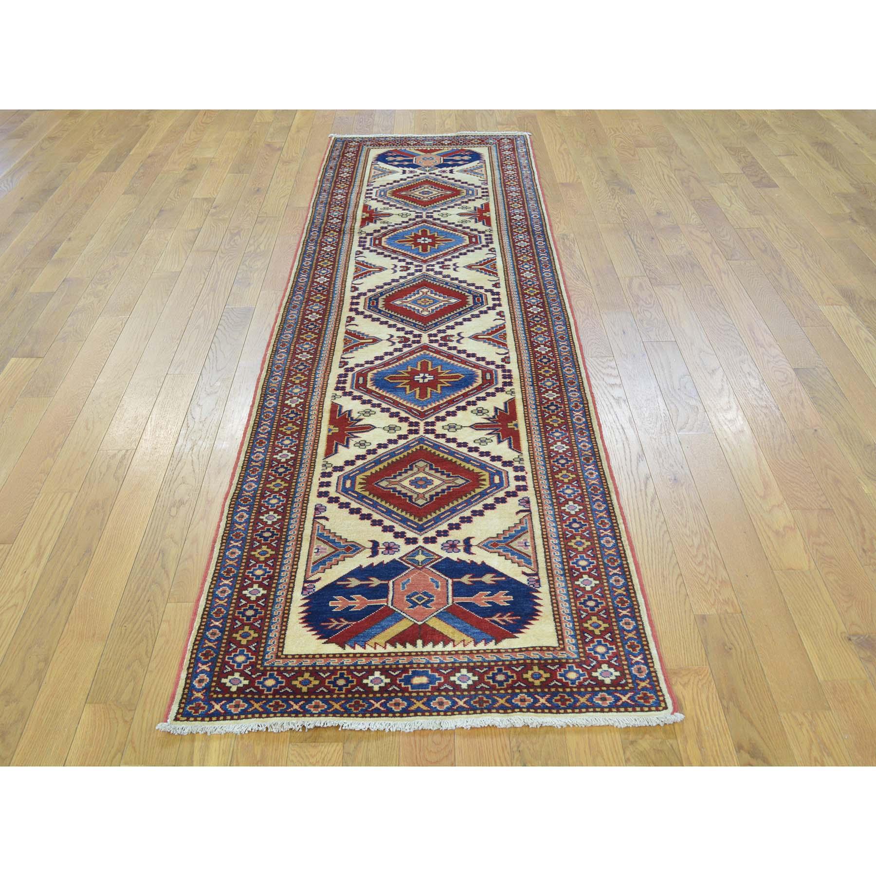 2-6 x9-4  Pure Wool Geometric Fine Kazak Runner Hand Knotted Rug