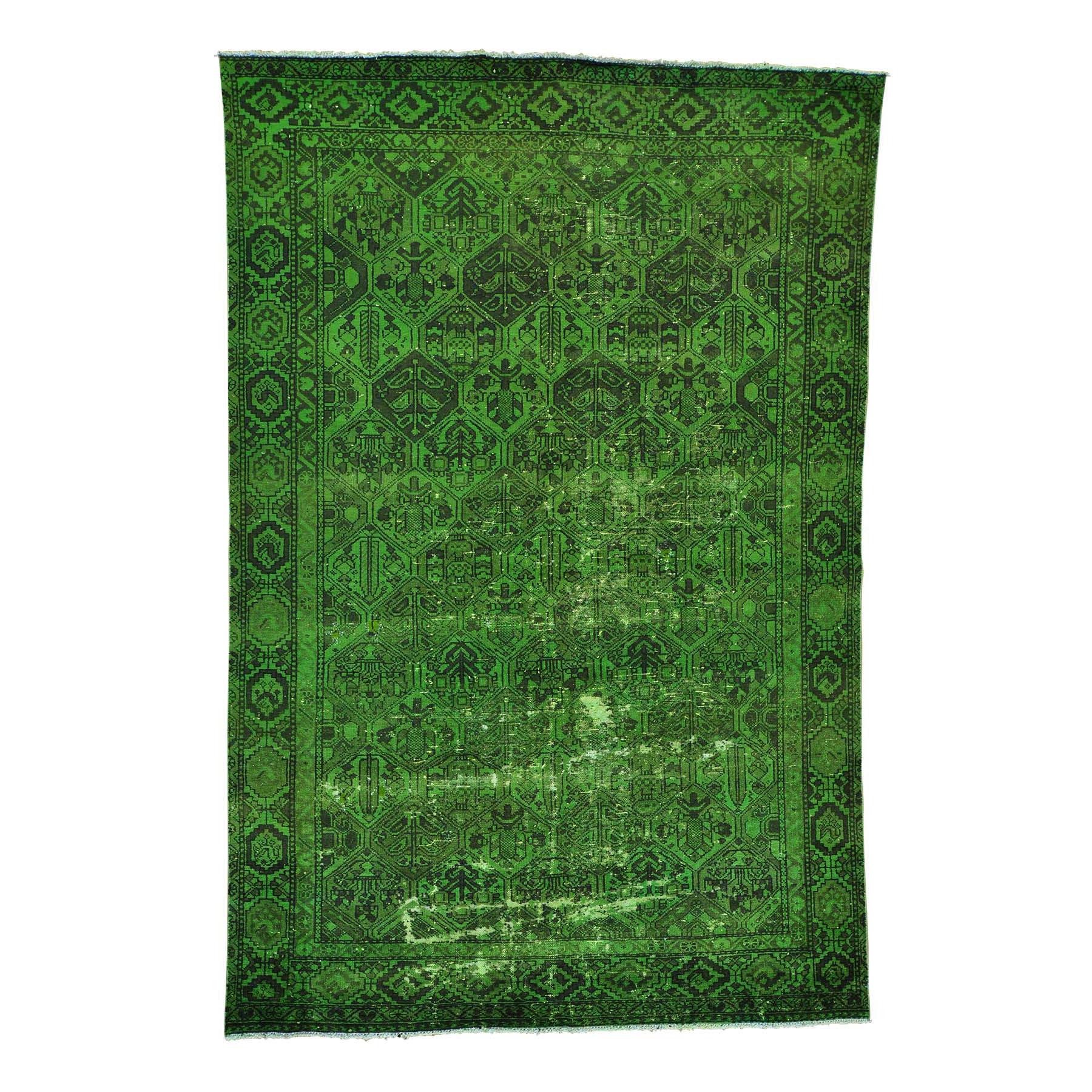 "6'4""X9'8"" Semi Antique Overdyed Persian Bakhtiari Vintage Oriental Rug moab8a7e"