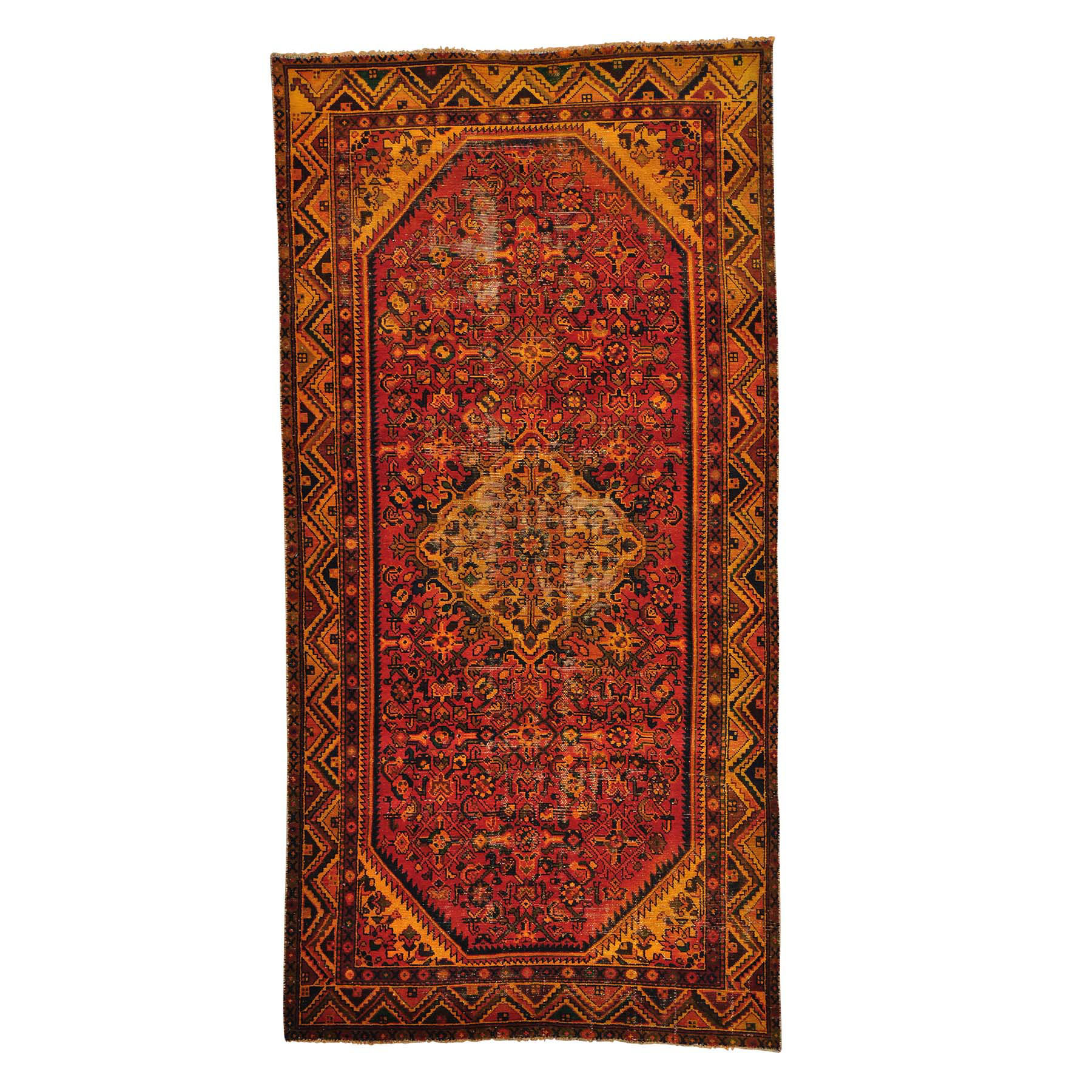 "4'10""X9'7"" Semi Antique Persian Hamadan Wide Runner Overdyed Vintage Rug moab8c0e"