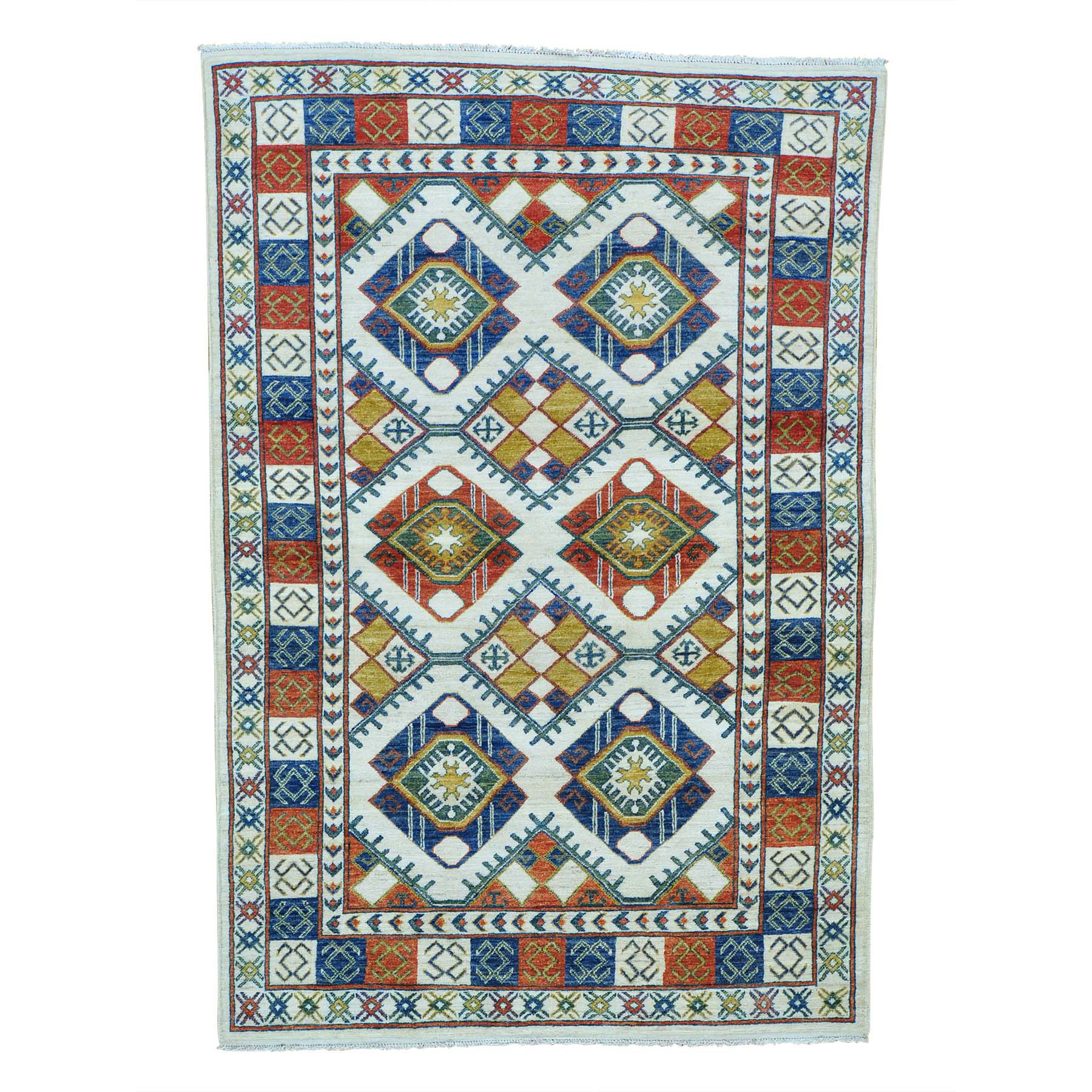 """4'10""""X7' Repetitive Design Afghan Ersari Hand Knotted Oriental Rug moab8c09"""