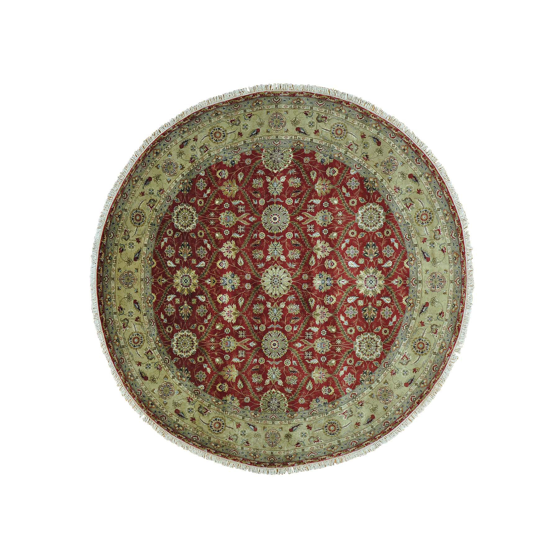 Click For More Images9u0027x9u0027 Hereke Design 300 KPSI Round Wool And Silk Hand  Knotted Rug Sh28352