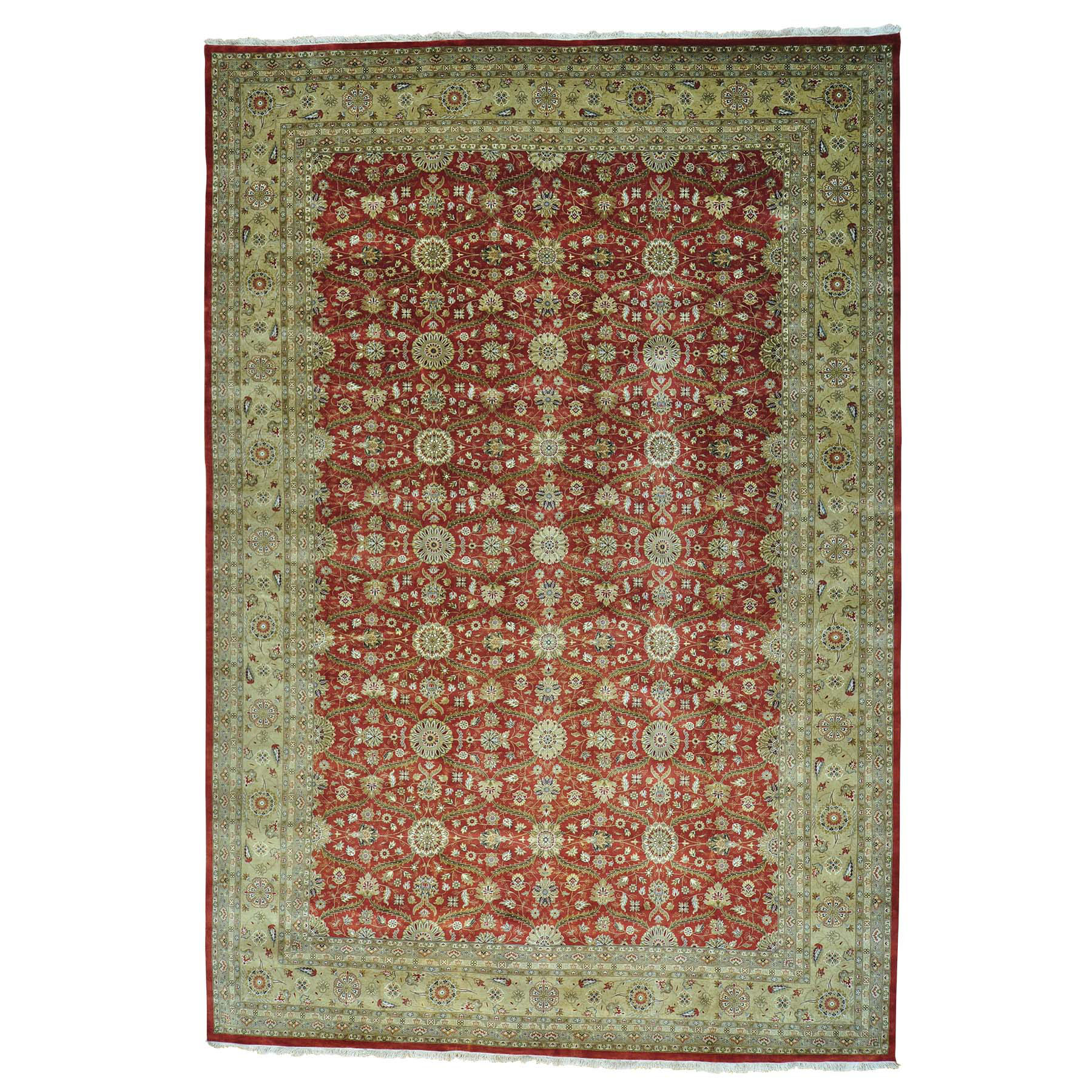 "12'3""X17'10"" Wool And Silk Hereke Design 300 Kpsi Handmade Oversize Rug moab8d0c"