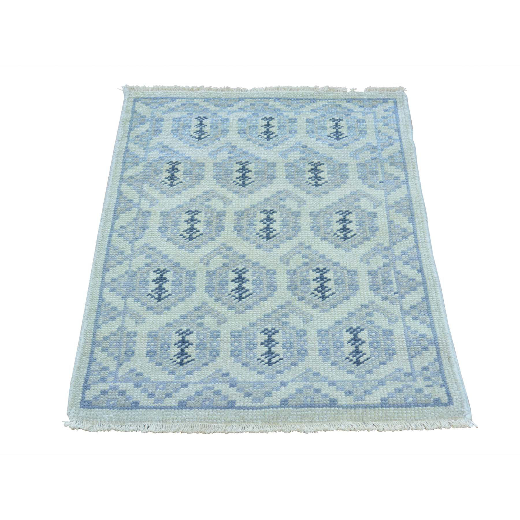 2'x3' Turkish Knot Pure Wool Paisley Design Hand Knotted Oriental Rug