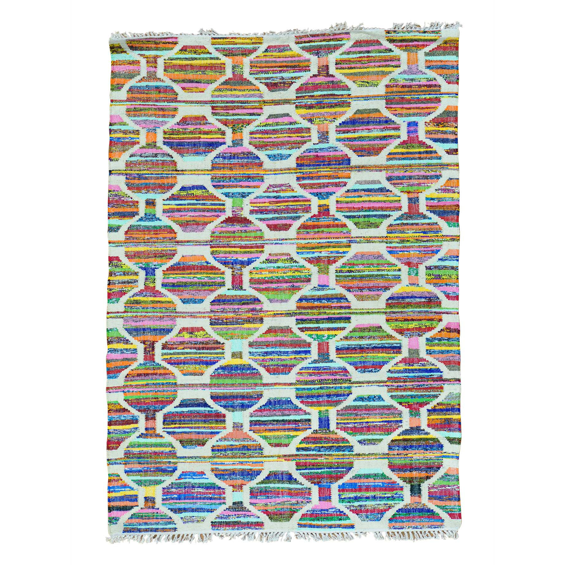 5'x7' Geometric Flat Weave Kilim Cotton And Sari Silk Hand Woven Rug